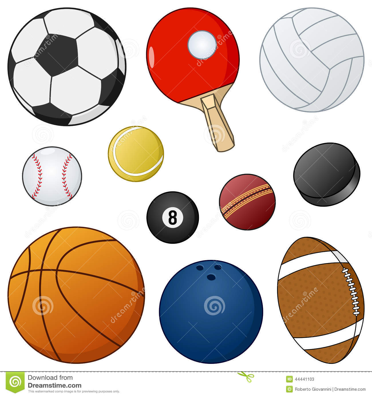 Cartoon Sport Balls amp Objects Collection Stock Vector