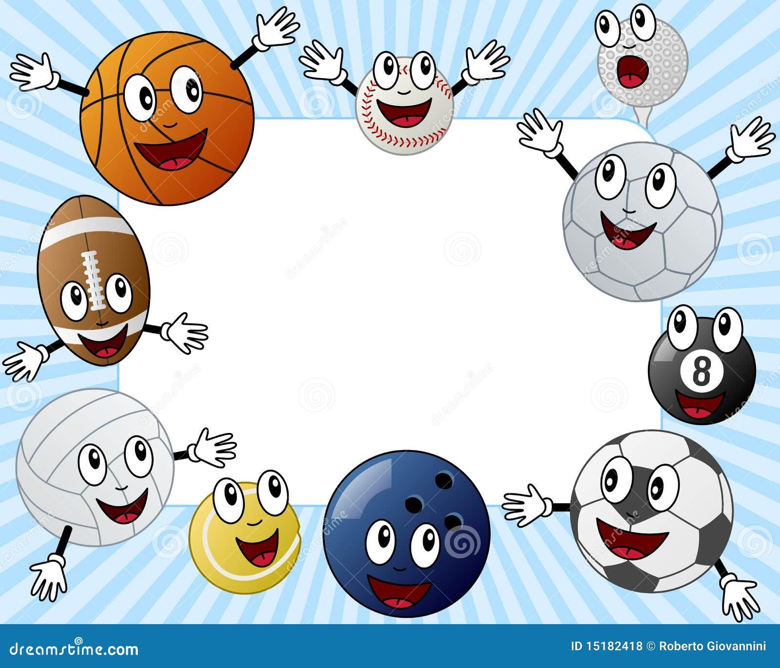 Cartoon Sport Balls Photo Frame Royalty Free Stock Photos - Image ...