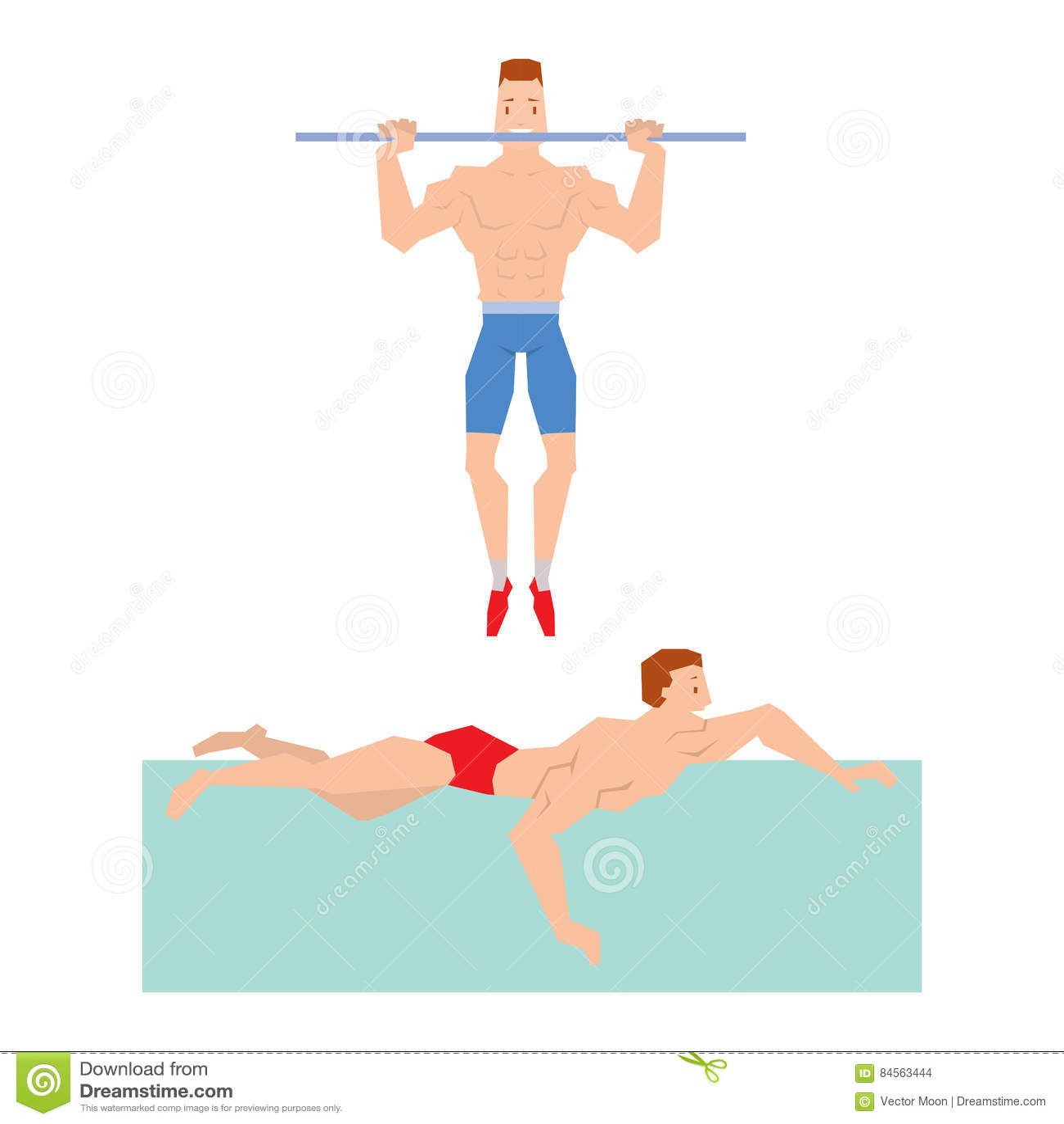 Cartoon sport gym people catch up bar and swim vector.