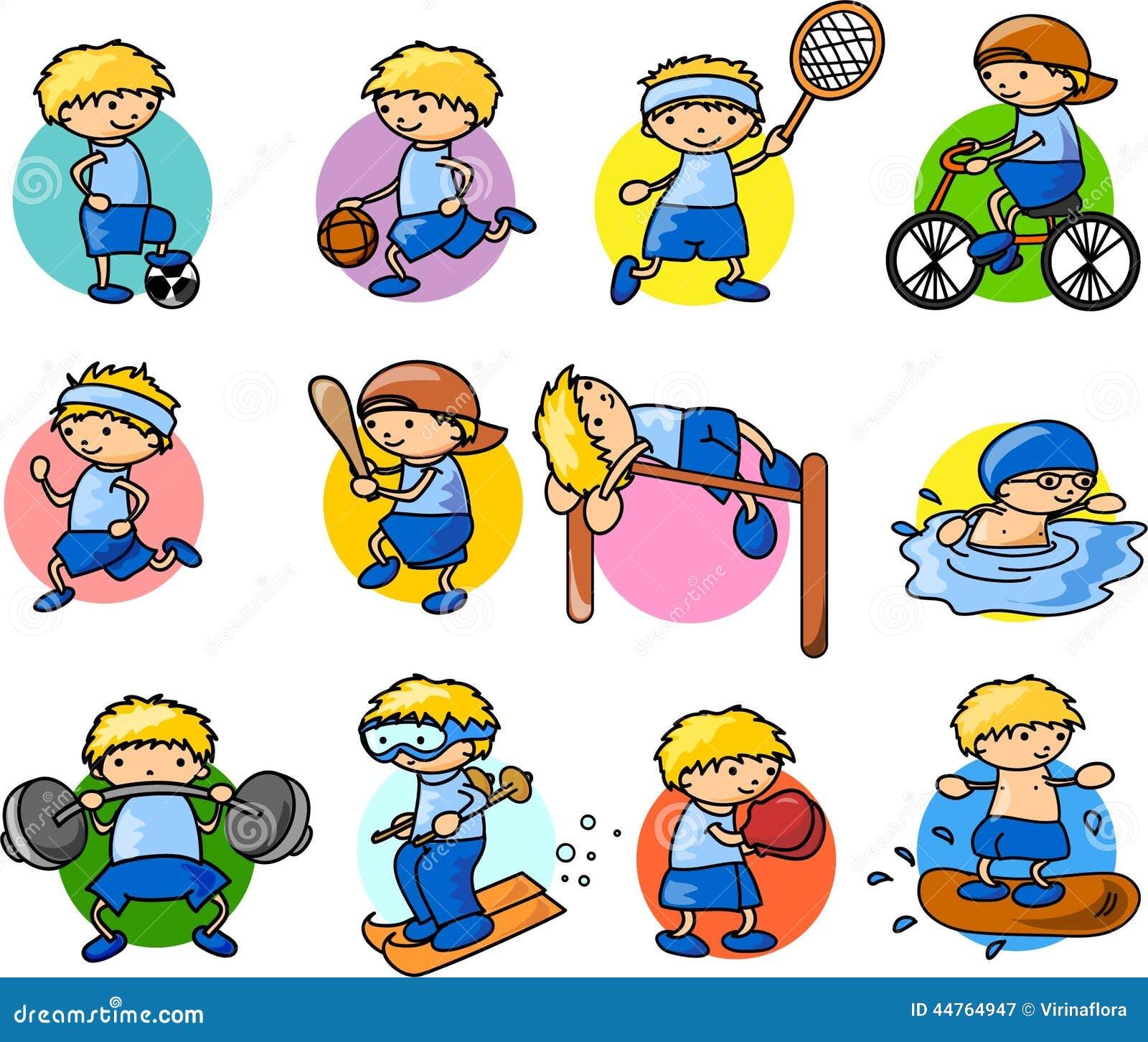 cartoon sport dibujos animados deporte icon pictogram icono vector het fumetto icona habilidades motrices tecknad stockillustratie deportes dibujo fotobehang pictogrammen