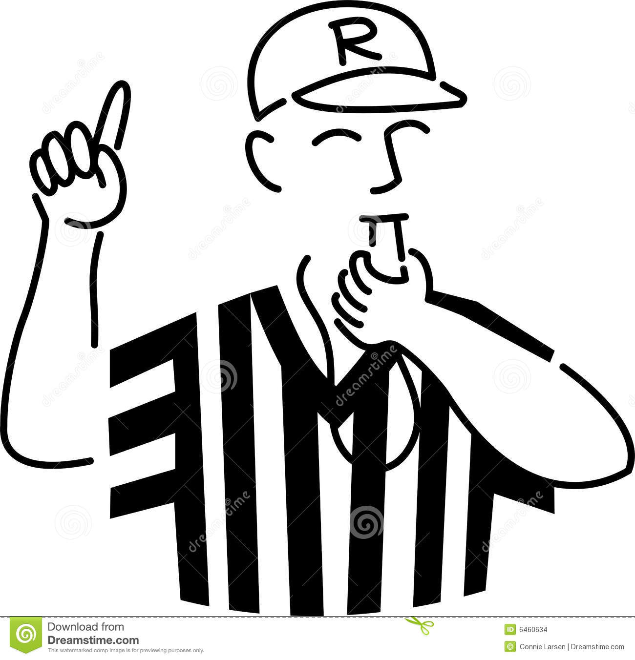 Cartoon illustration of a sports referee blowing his whistle.
