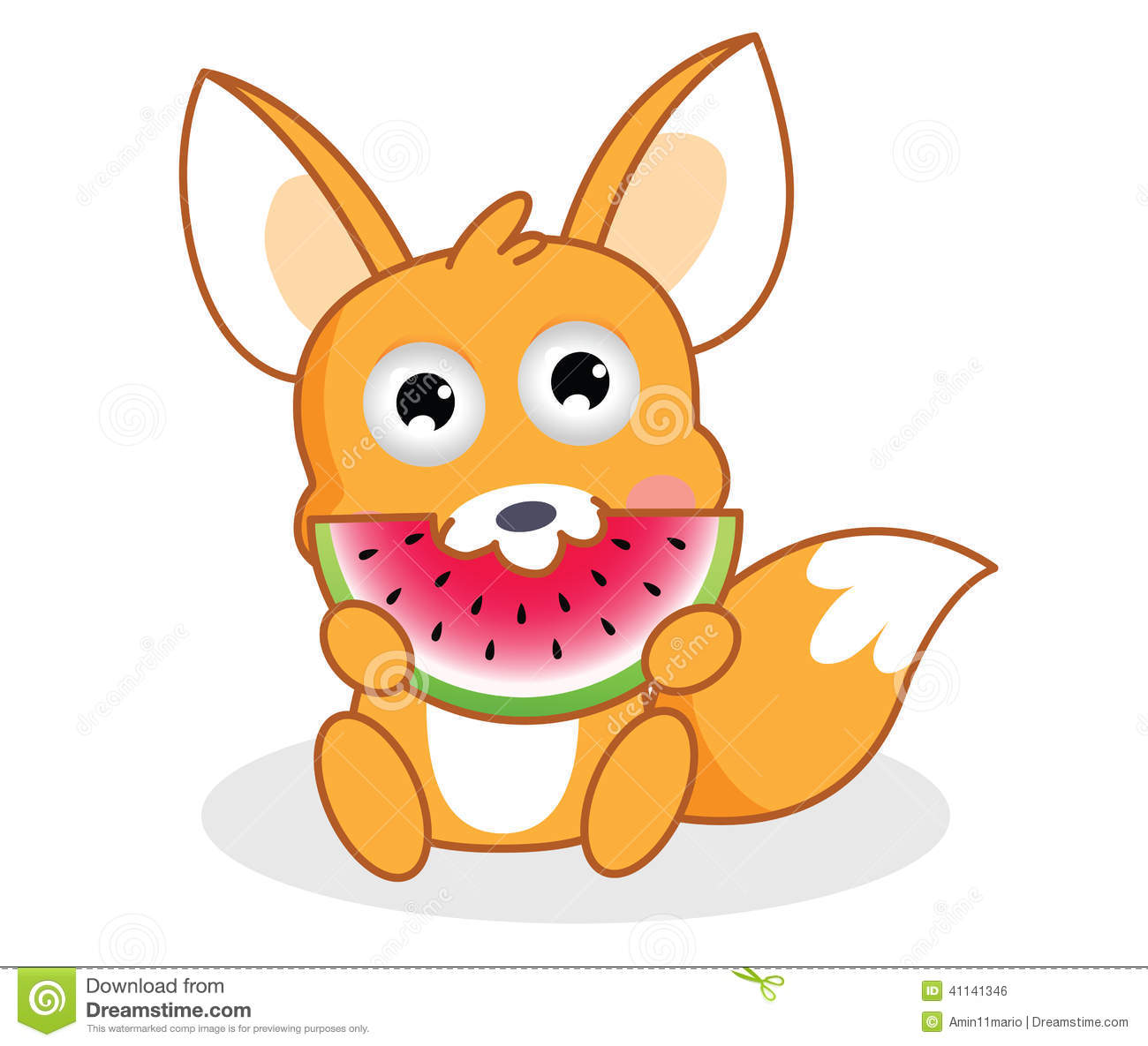 Cartoon Squirrel Is Eating Watermelon Stock Illustration - Image ...