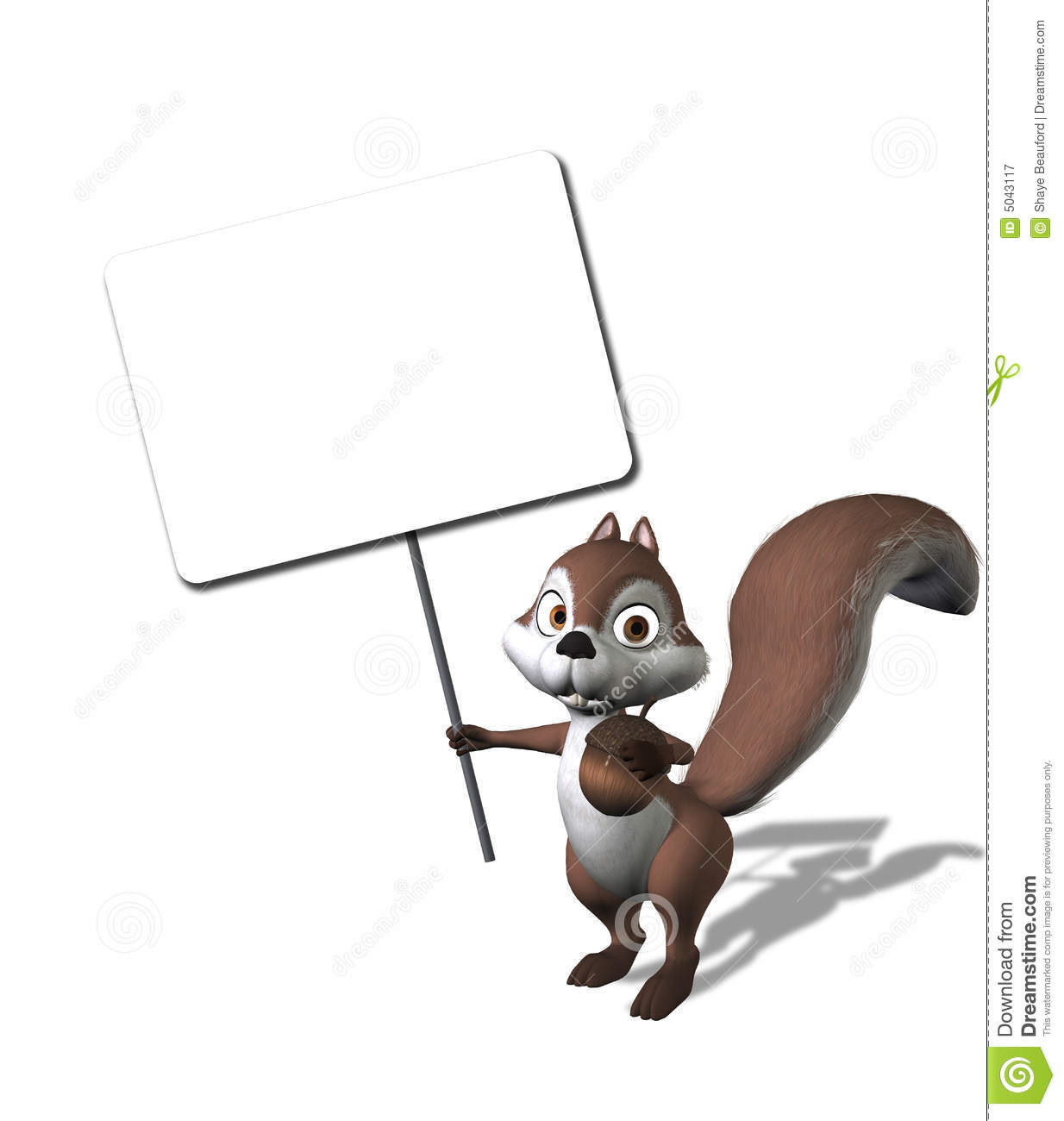 Cartoon Squirrel Holding a Blank Sign