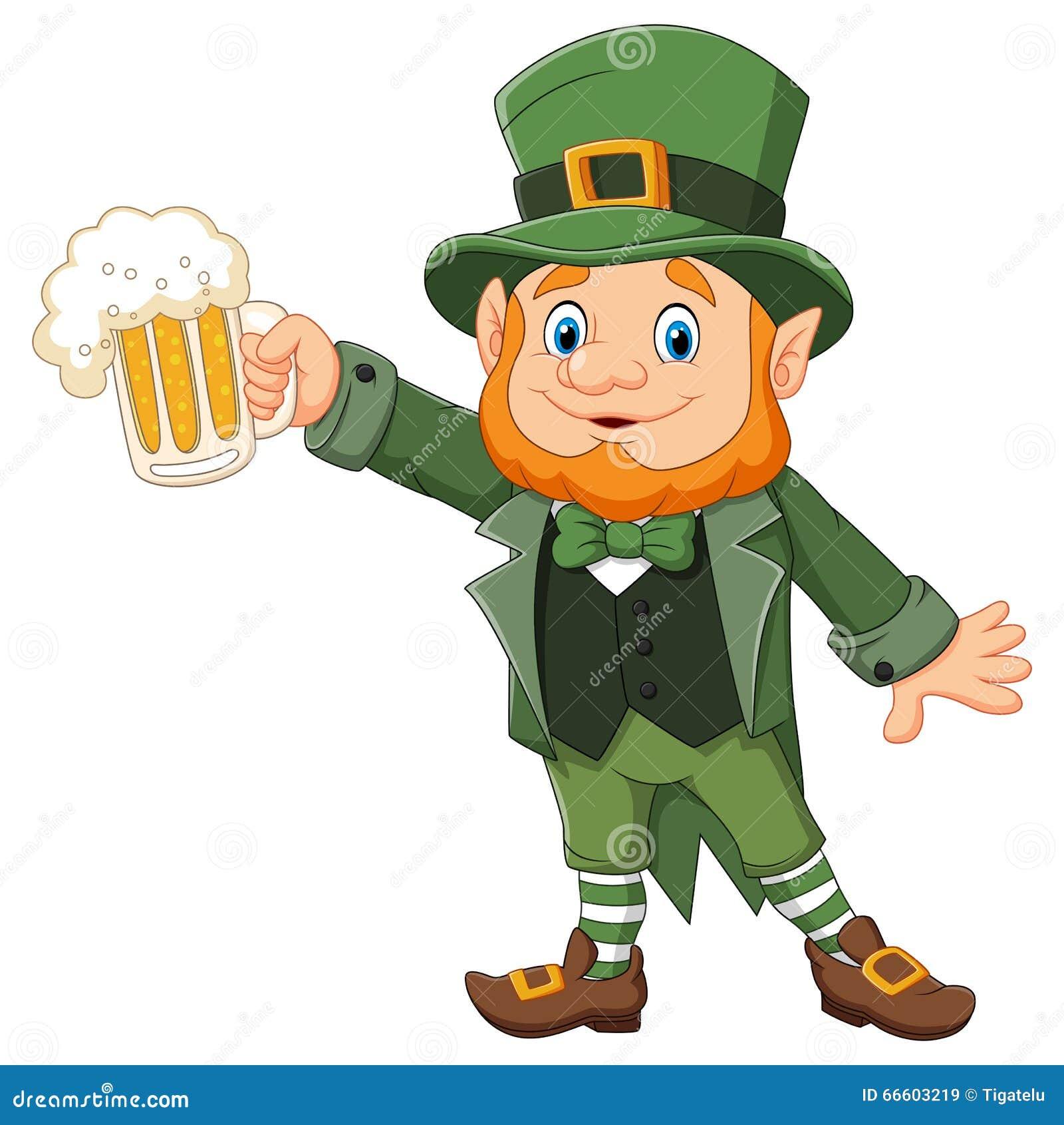 Cartoon St Patrick's Day, Leprechaun With Mug Beer Stock ...