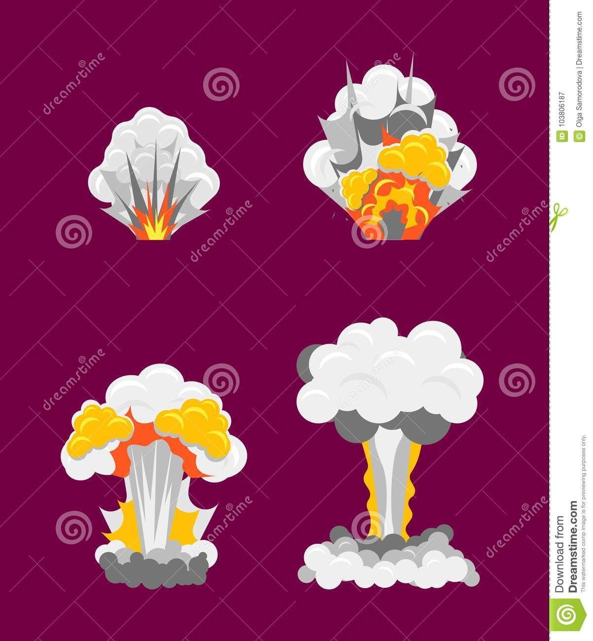 cartoon stages process of explotion effect set vector stock vector