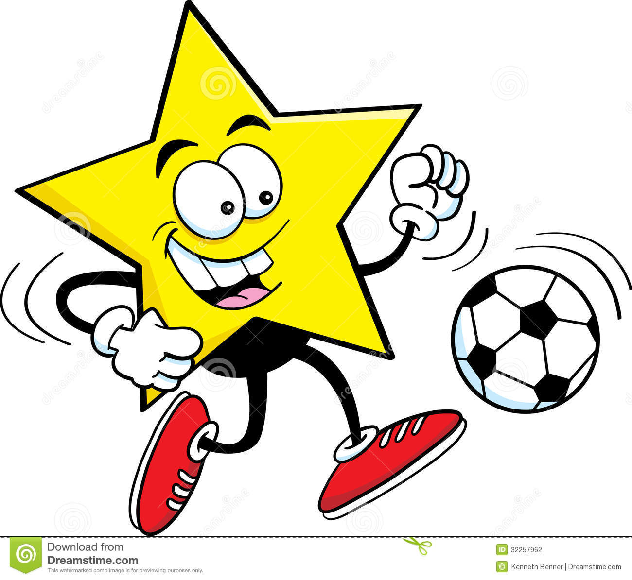 Cartoon Star Playing Soccer Stock Photography - Image: 32257962