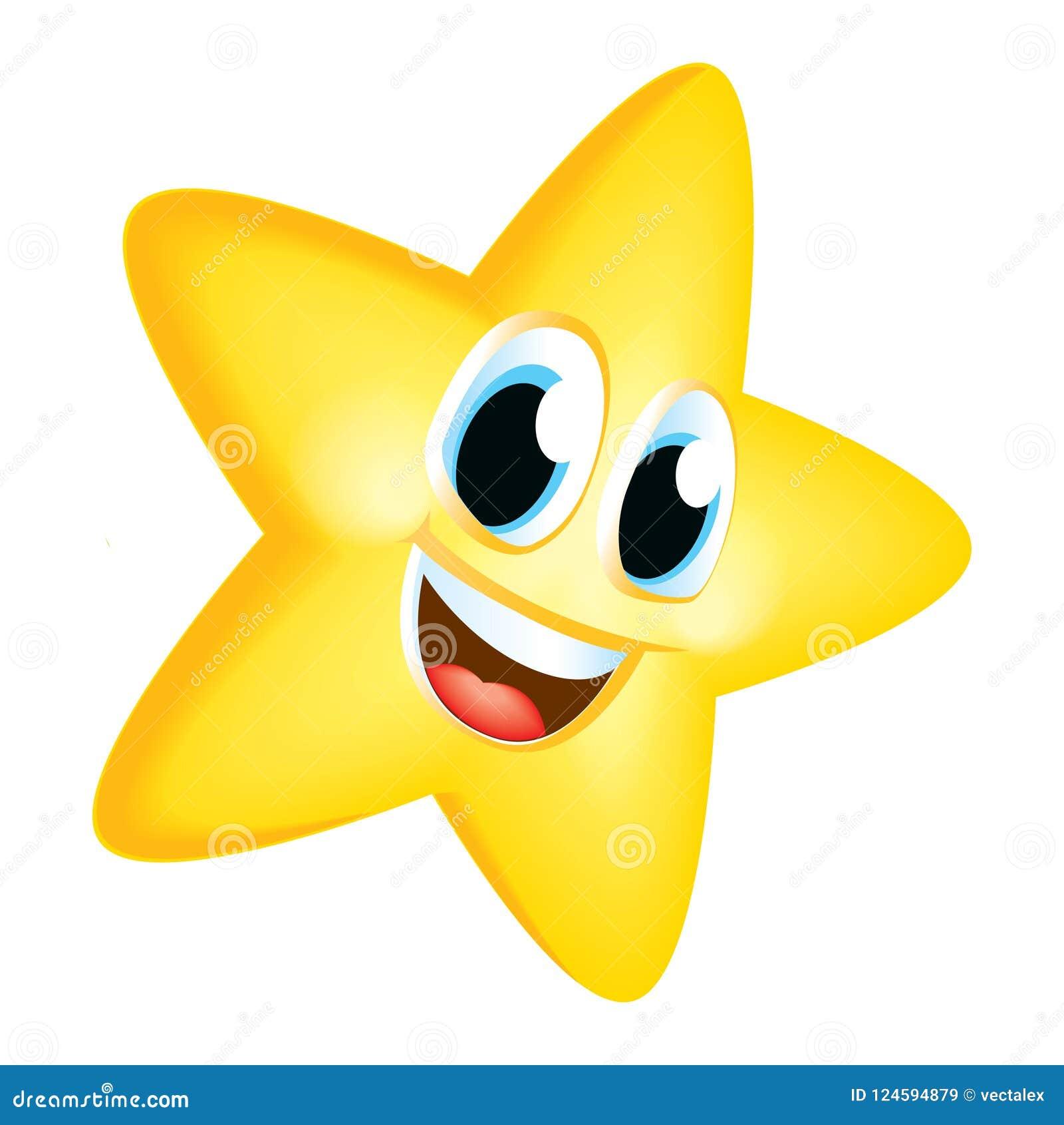 Cartoon Star Smile Emoji Cute Mascot Reach Raise Vector ...