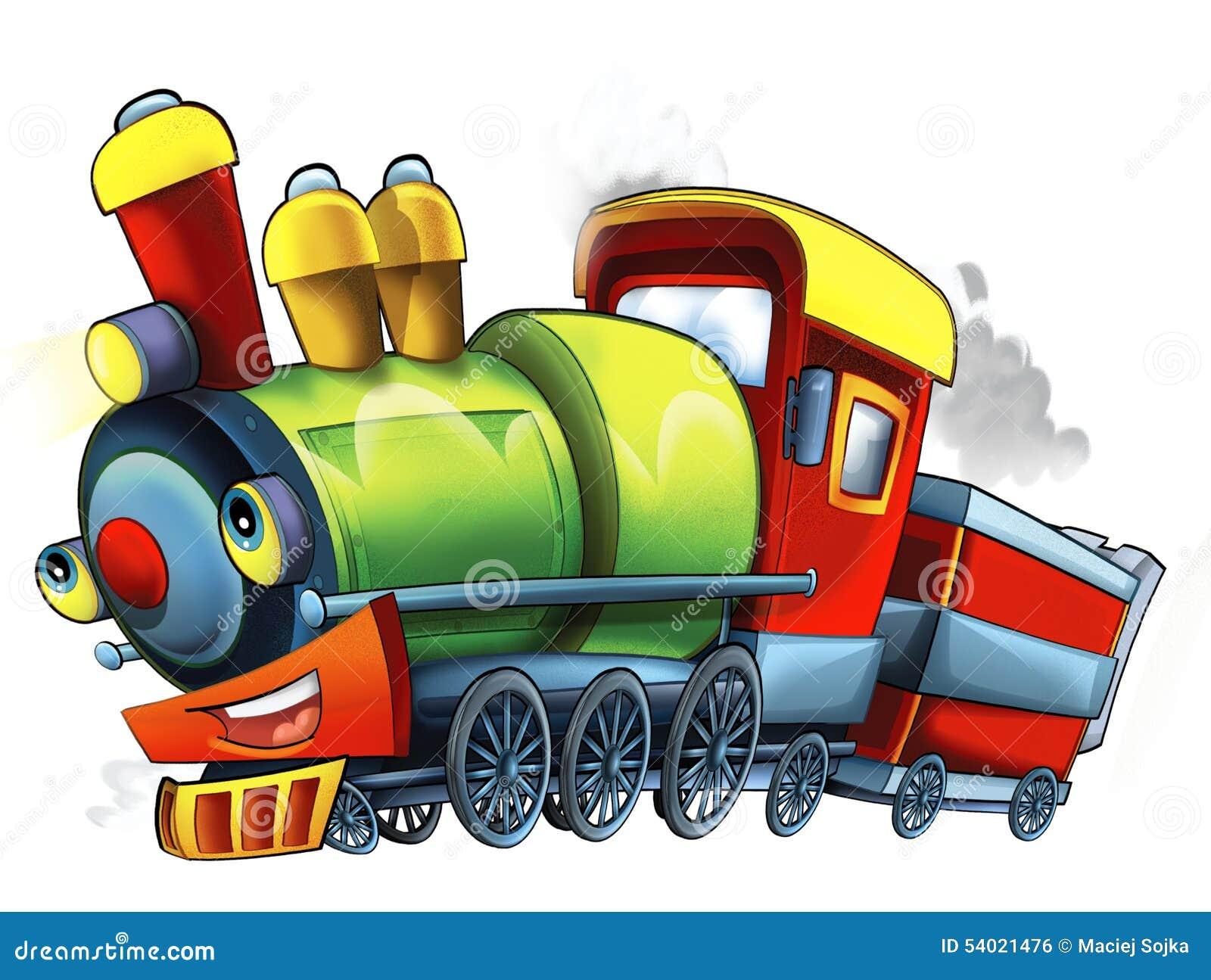 Cartoon steam train caricature illustration for the