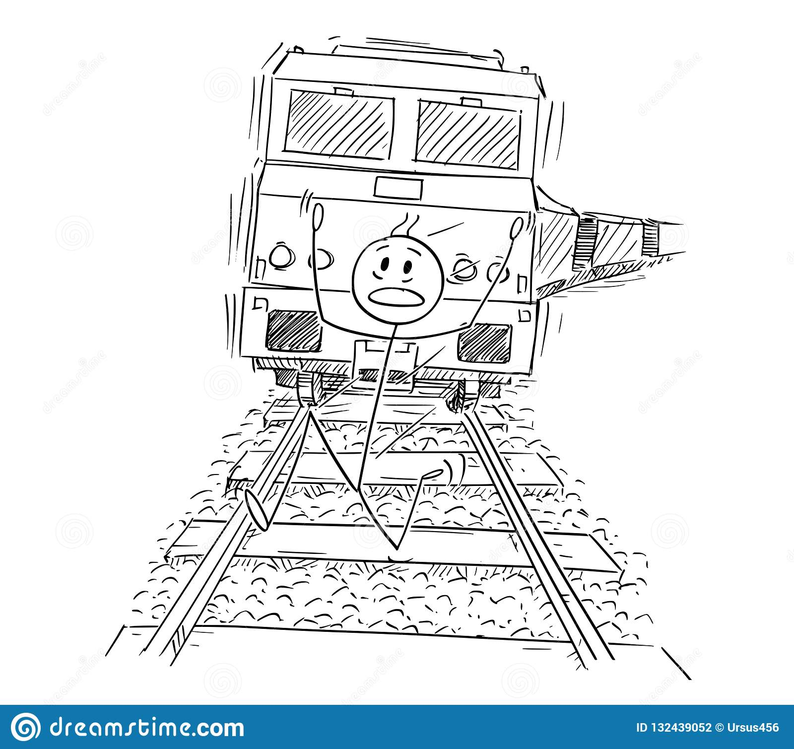 Cartoon Of Frightened Man Running On Tracks Away From The Train