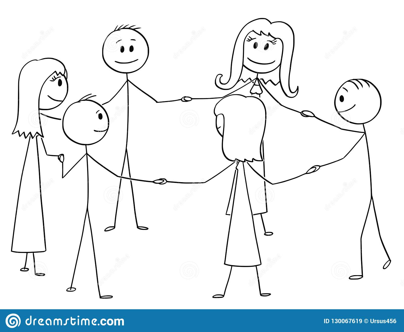Cartoon stick drawing conceptual illustration of group of six people holding each other hand and standing together in circle