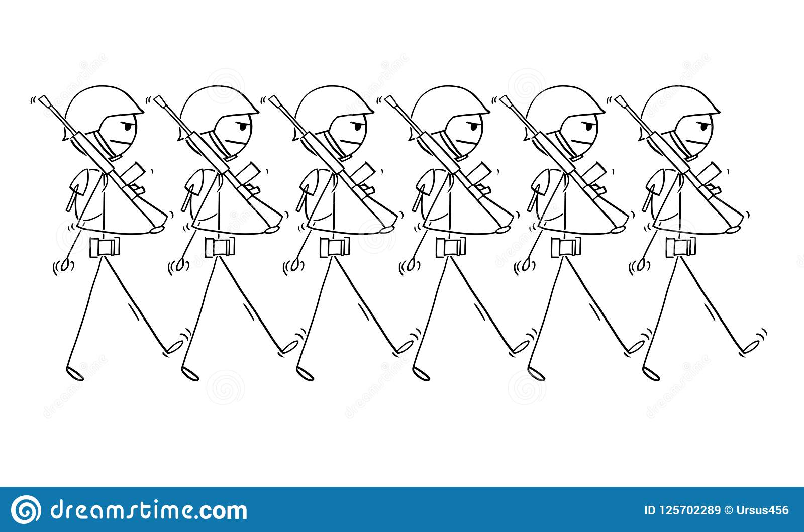 Cartoon Of Modern Soldiers Marching On Parade Or In To War Stock