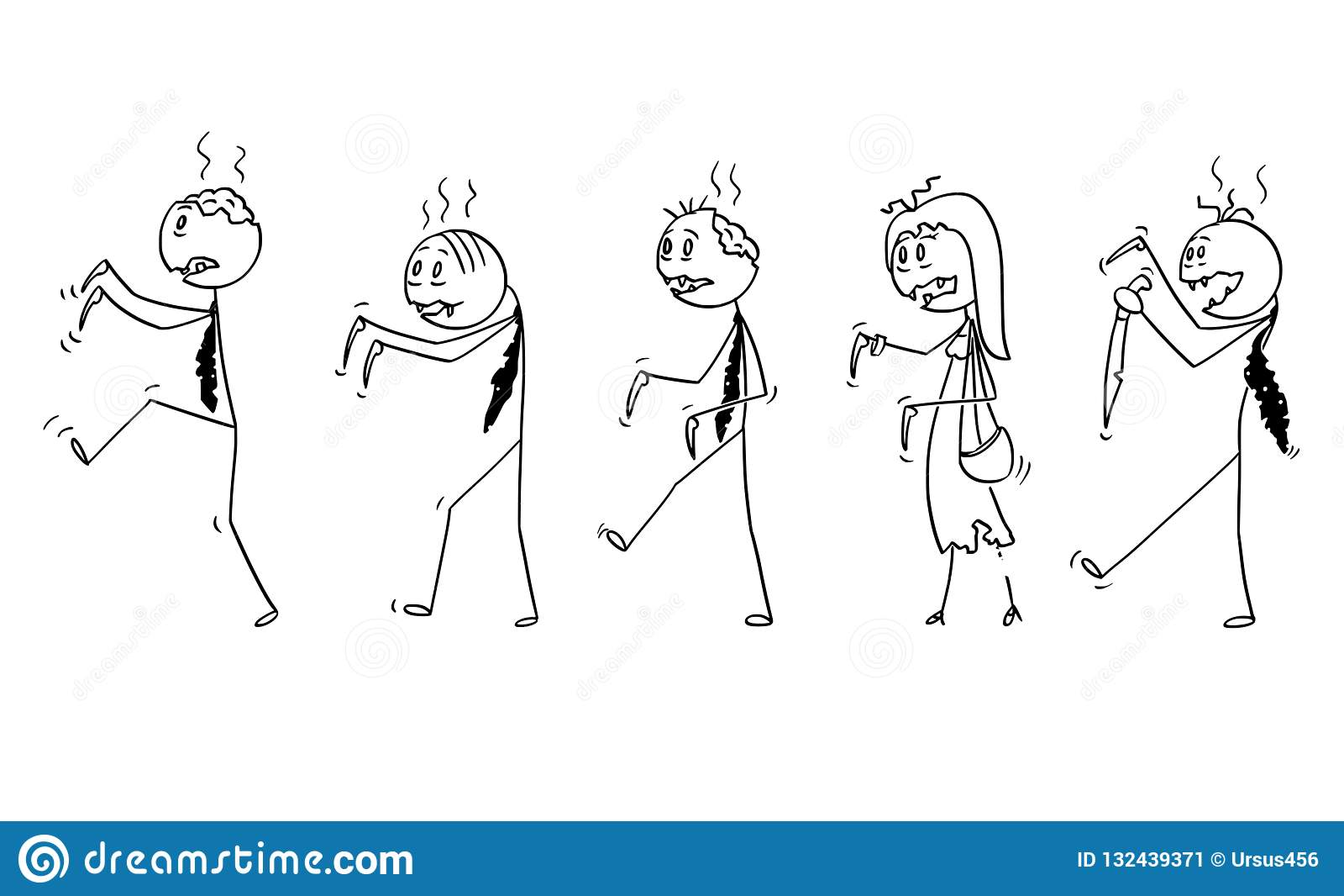 Cartoon of Group of Five Undead Zombie Businessmen Walking