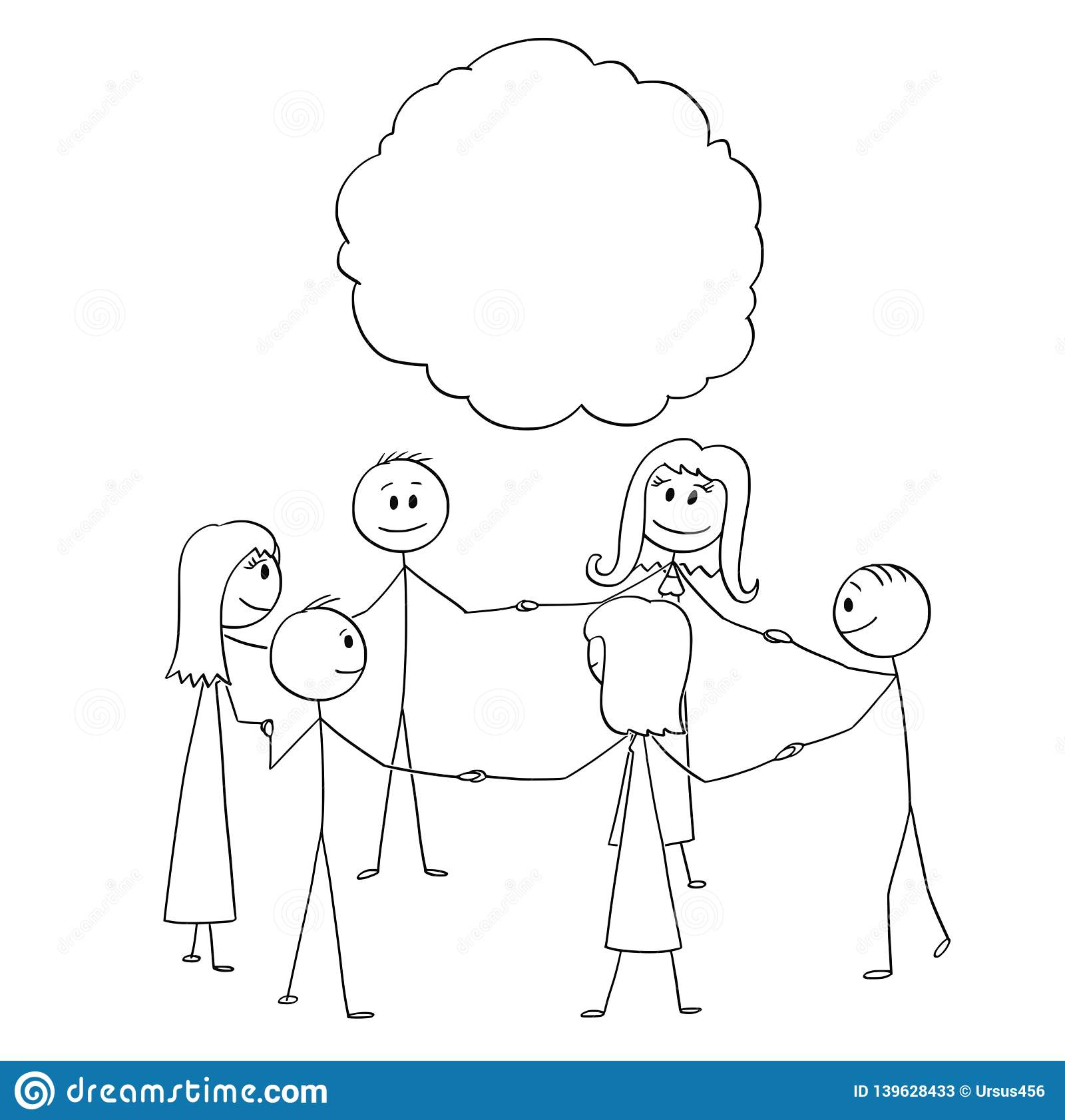 Cartoon stick figure drawing conceptual illustration of group or team of people or businessmen standing in circle and holding each other hands
