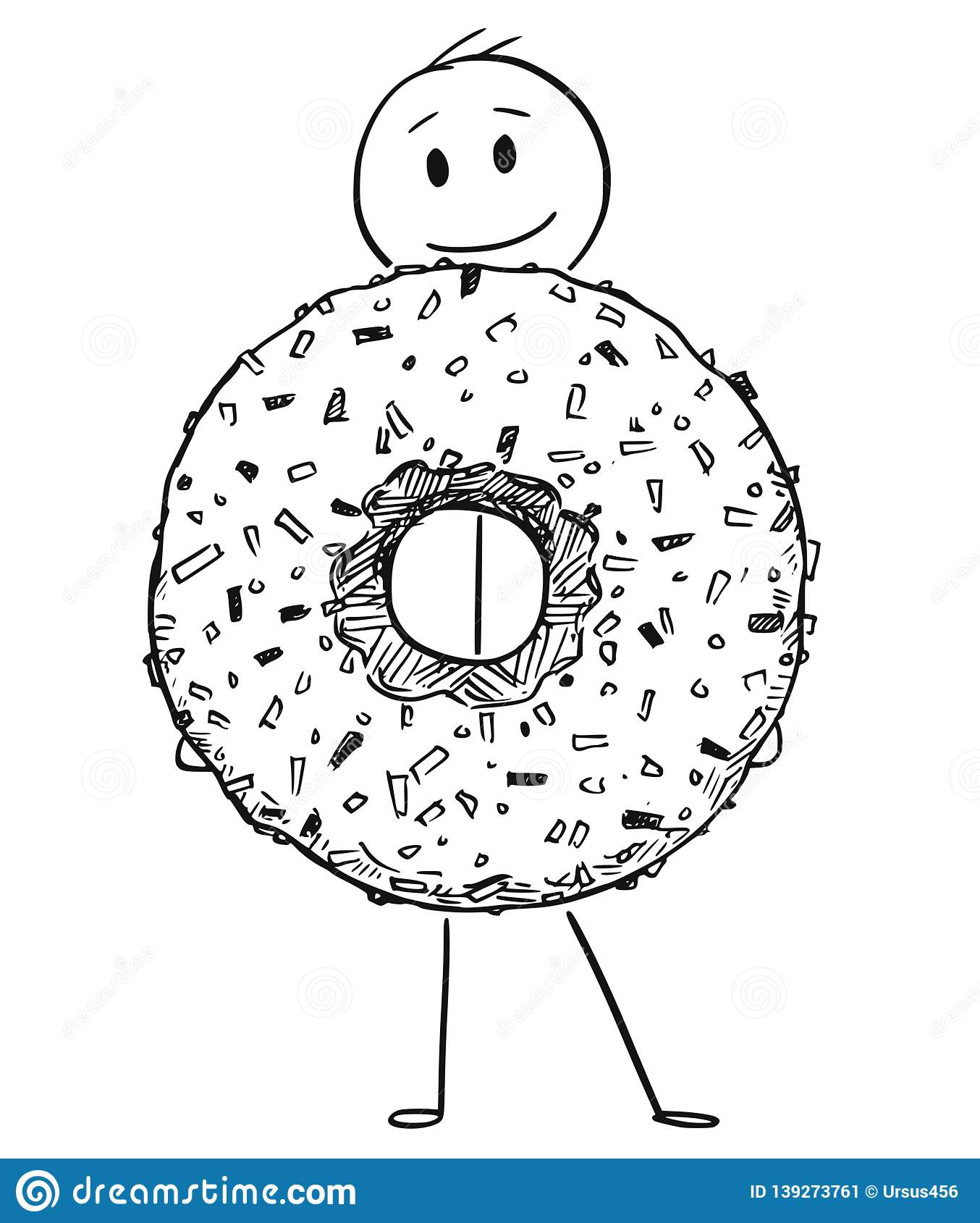 Cartoon Of Smiling Man Holding Big Donut Or Doughnut Dessert Stock