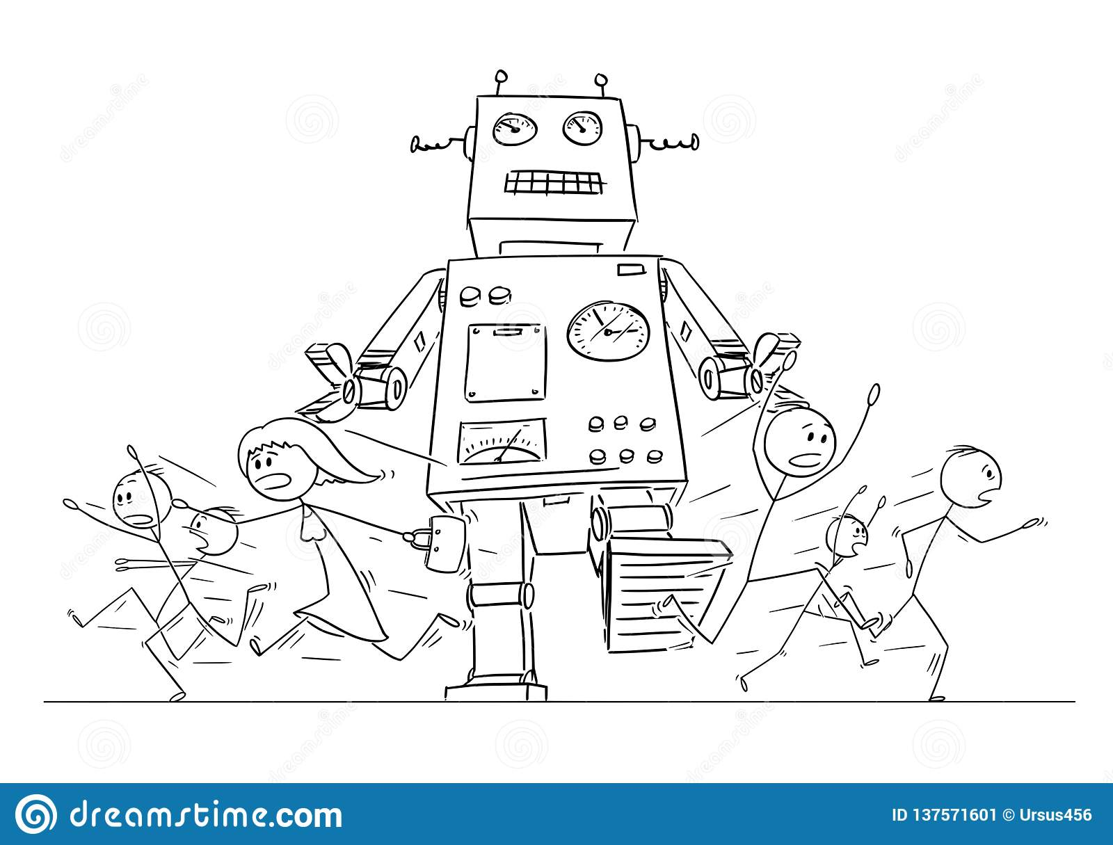 Cartoon Drawing of Crowd of People Running in Panic Away From Giant Retro Robot