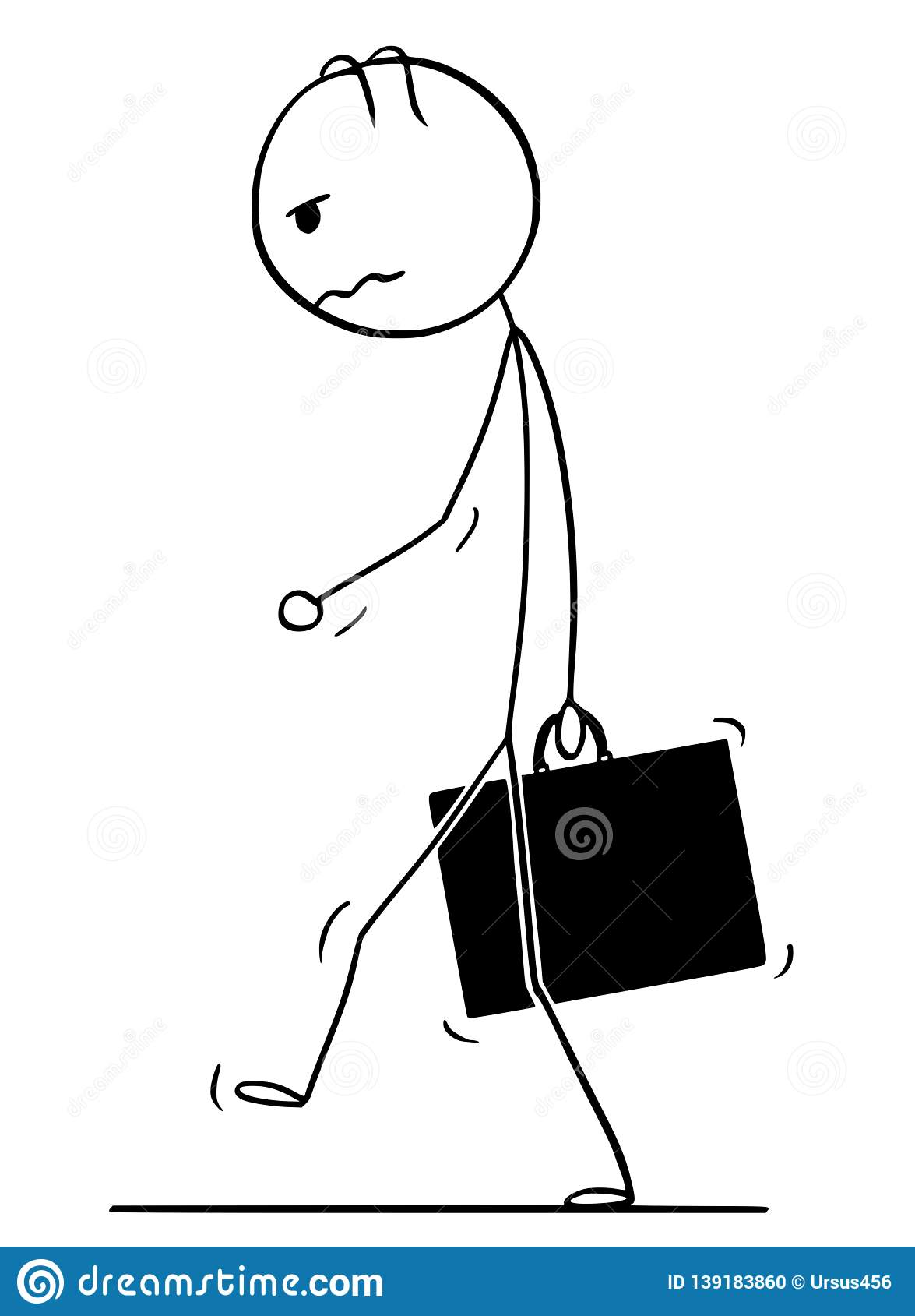 Cartoon stick figure drawing of sad or depressed man or businessman with briefcase walking and thinking about trouble or problem