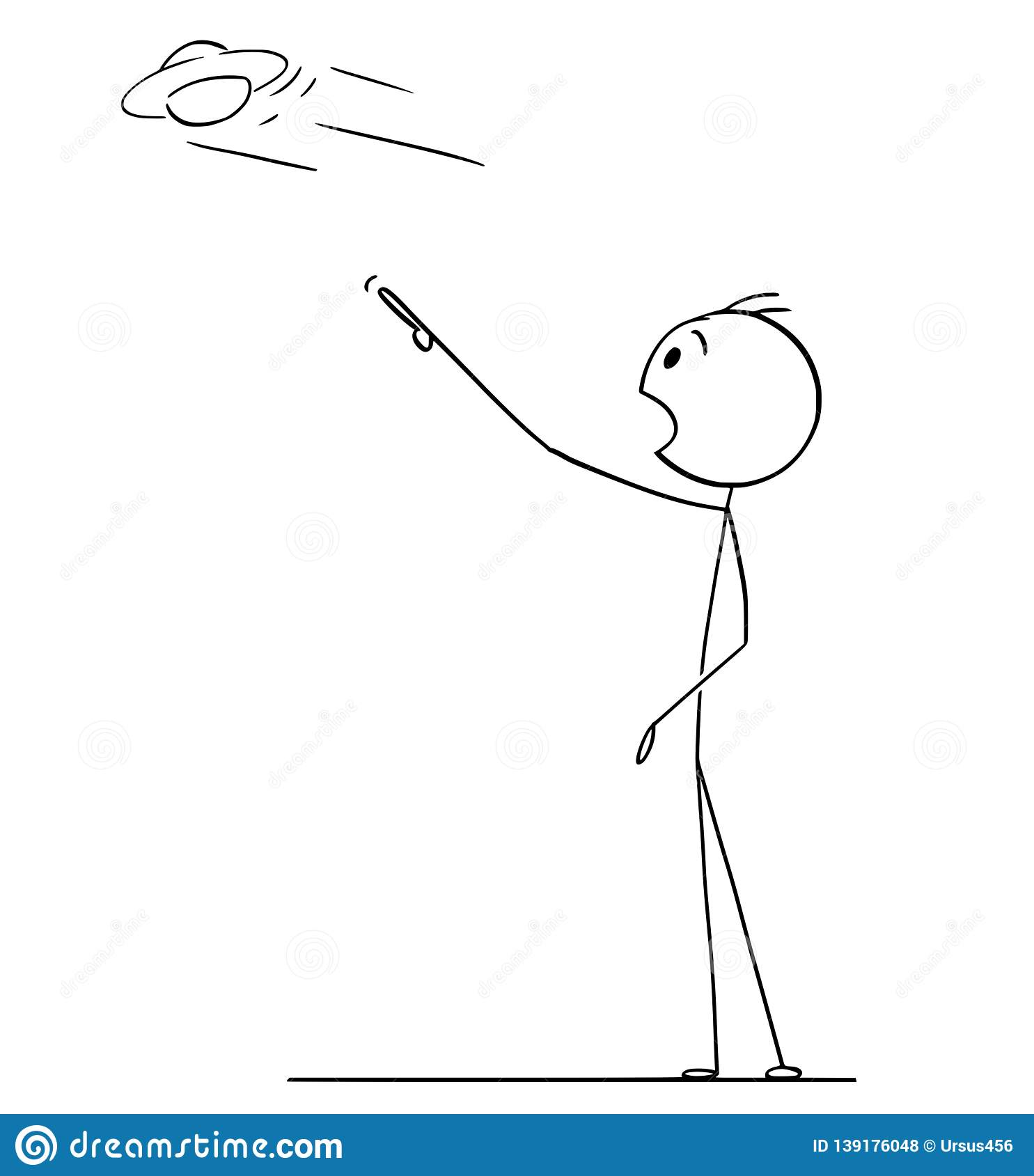 Cartoon Drawing Of Man Watching Ufo Or Flying Saucer Stock Vector Illustration Of Figure Design 139176048