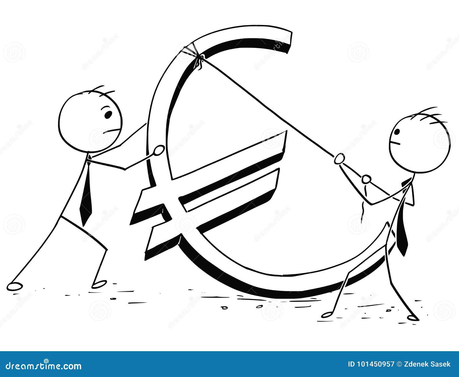 Two Businessmen Erecting Large Euro Sign Stock Vector Illustration