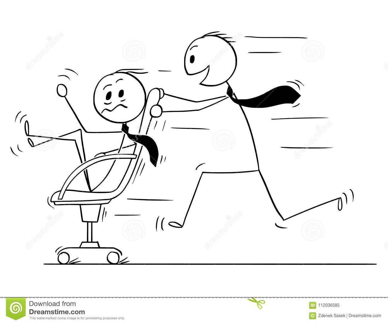 Cartoon Stick Man Drawing Conceptual Illustration Of Businessman Riding On  Office Chair, Second Man Pushing Him. Business Concept Of Fun In The Office.