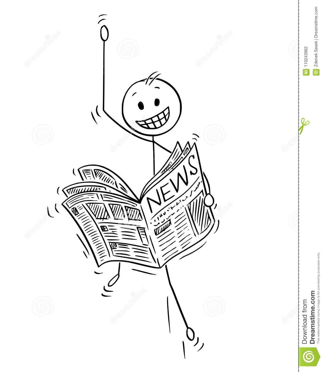 Cartoon Of Happy Businessman Reading Good News In Newspaper
