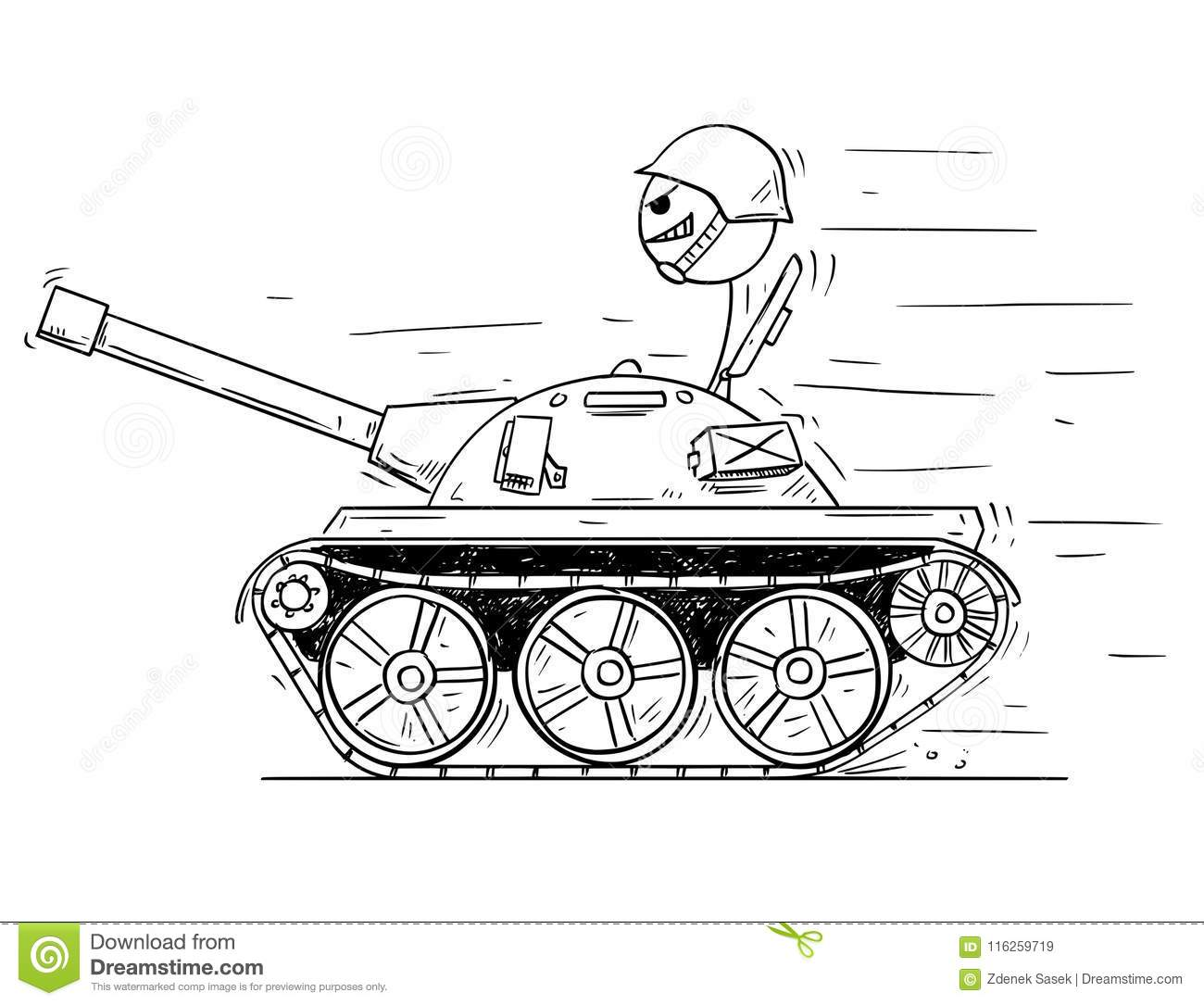 Cartoon Of Soldier In Small Tank Concept Of War As Game Stock