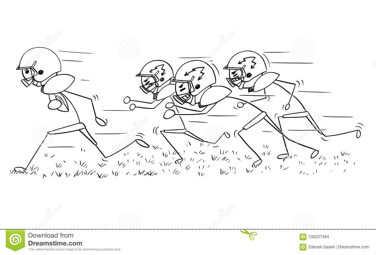 Cartoon Of American Football Player Running With Ball Stock Vector