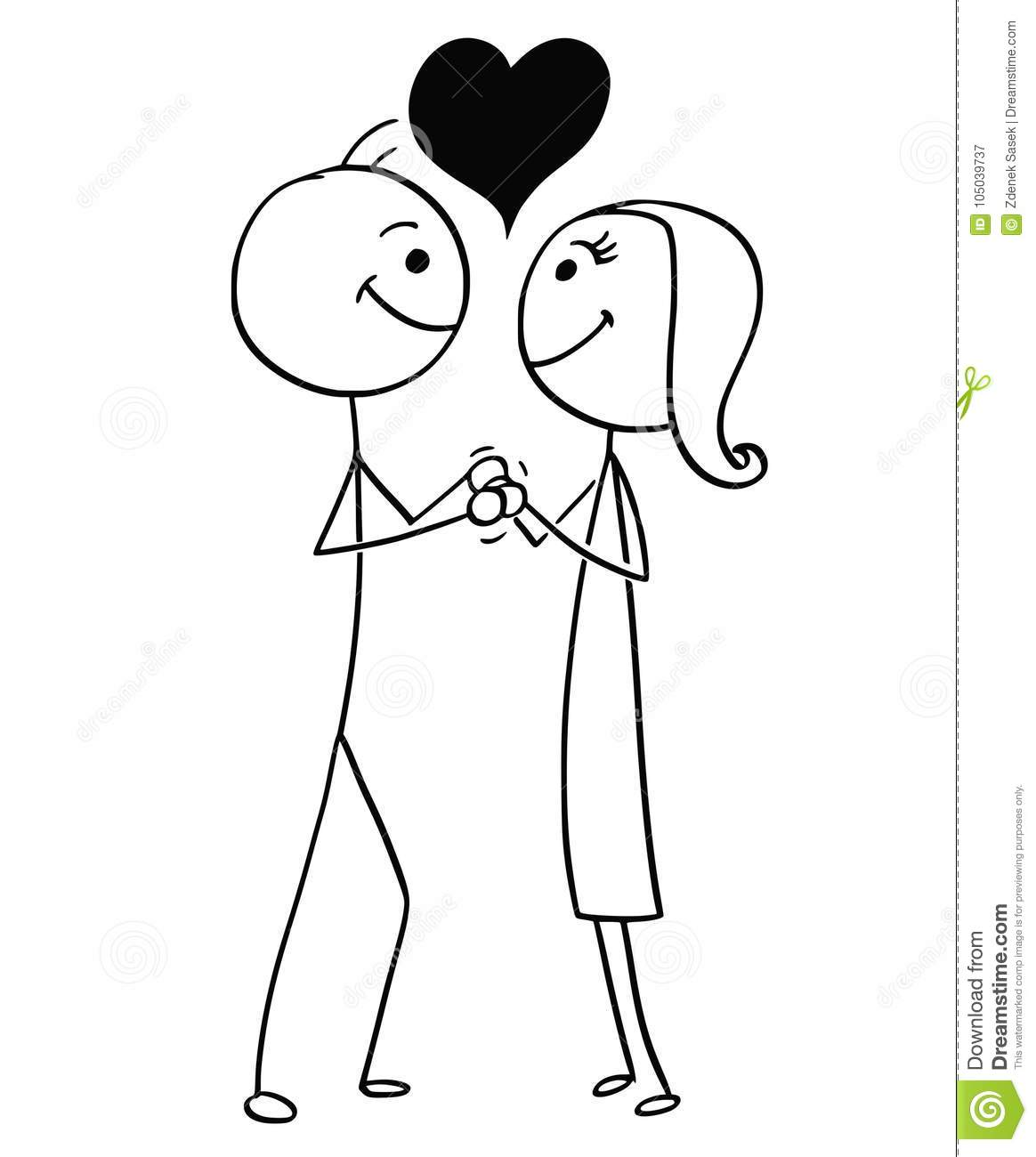 Love Each Other Cartoon: Vector Stick Man Cartoon Of Man And Woman In Love Stock