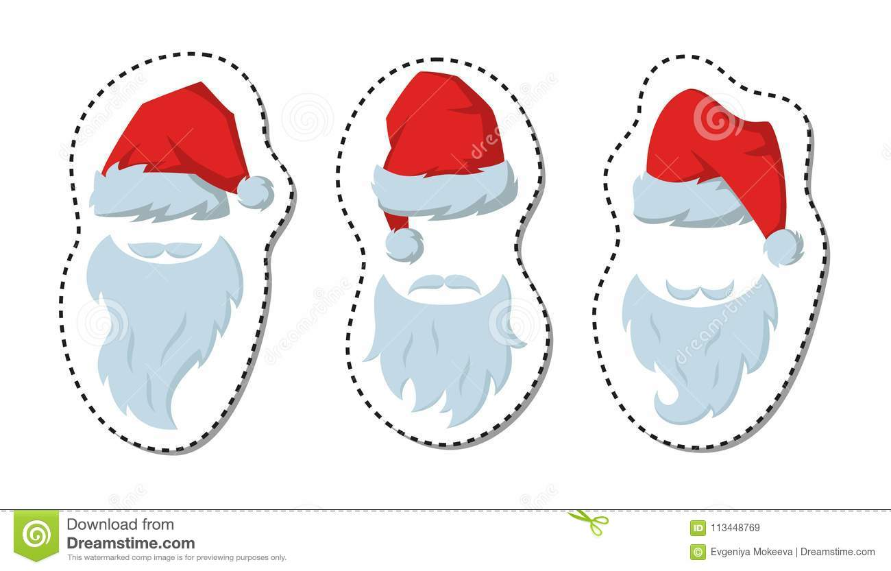 Cartoon Sticker With Red Hats And Beards Of Santa Claus On The W ... 68b4801d5a2b