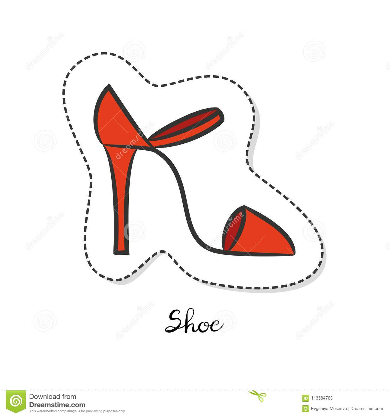Cartoon Sticker With Woman Shoe On White Background Stock Vector