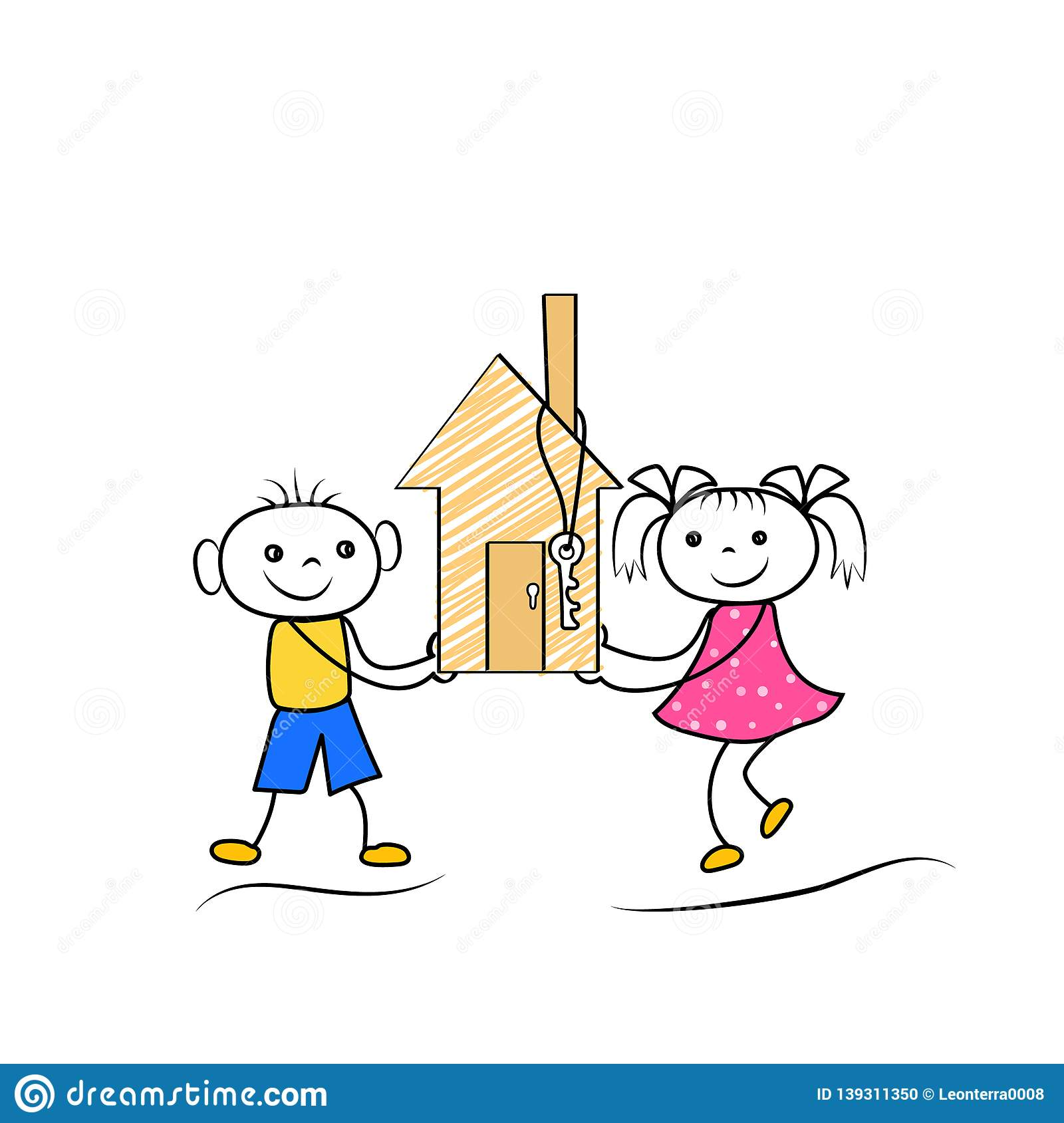 Cartoon Stickman Figures Of Boy And Girl Buying Or Moving To New House Stock Illustration Illustration Of Landlord Condo 139311350