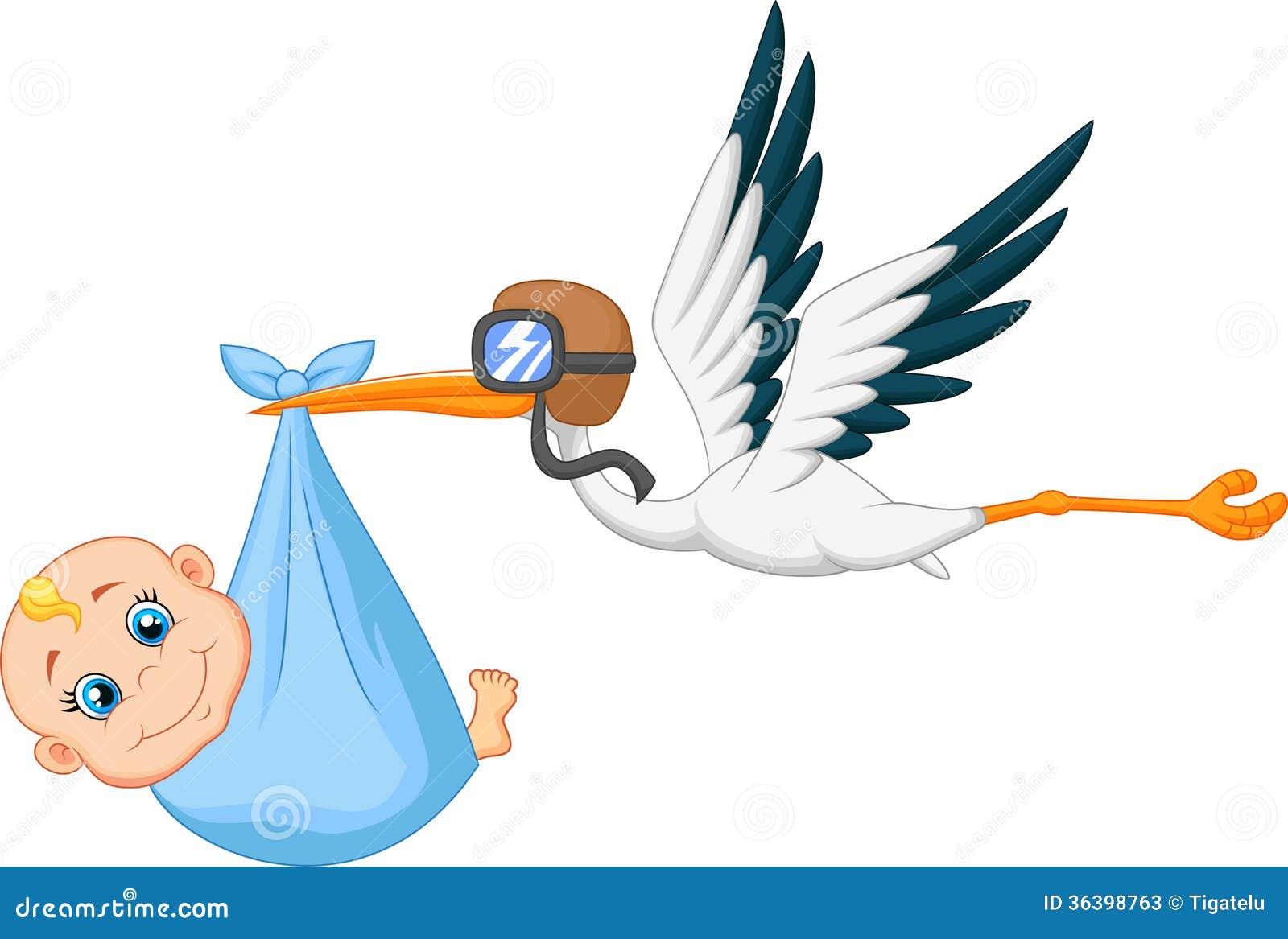Stork And Baby Flying Cartoon Vector Illustration