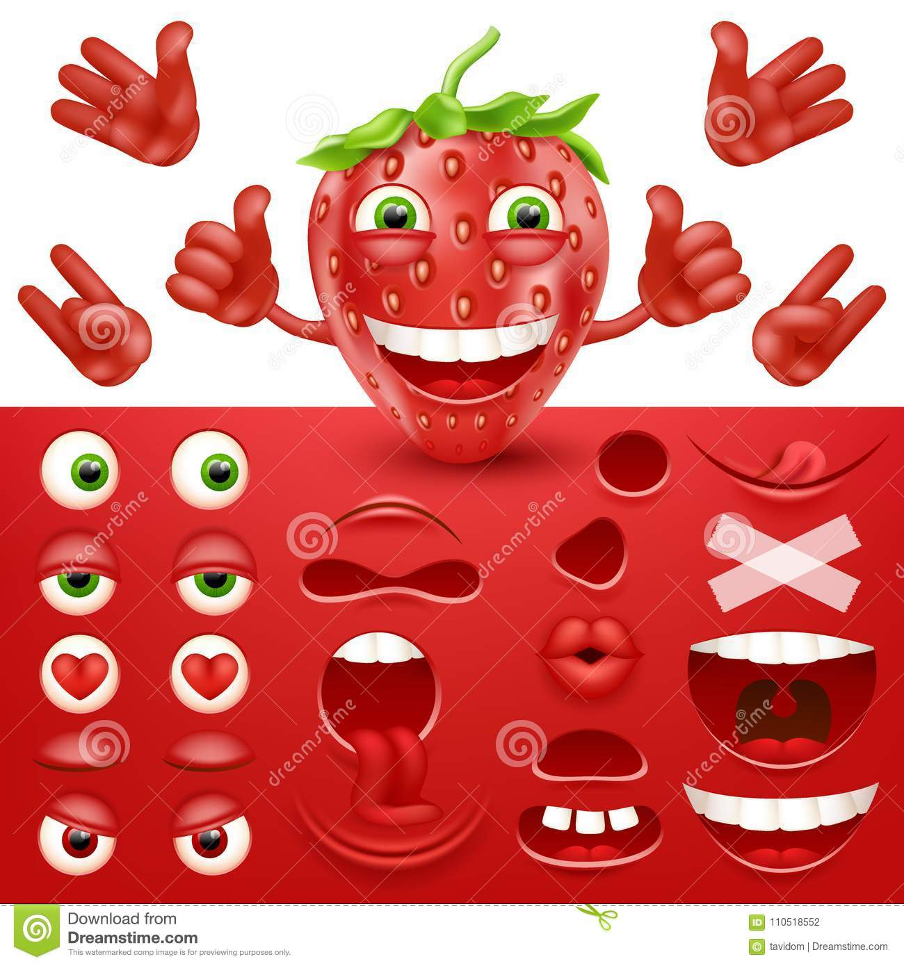 Cartoon Strawberry 3d Smiley Face Vector Character Creation