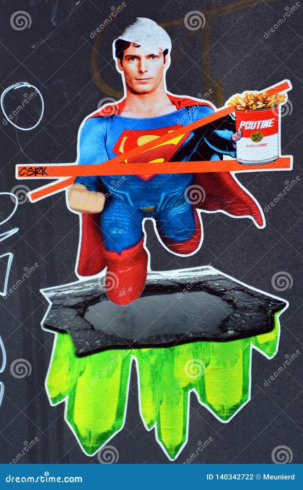Cartoon street art Superman