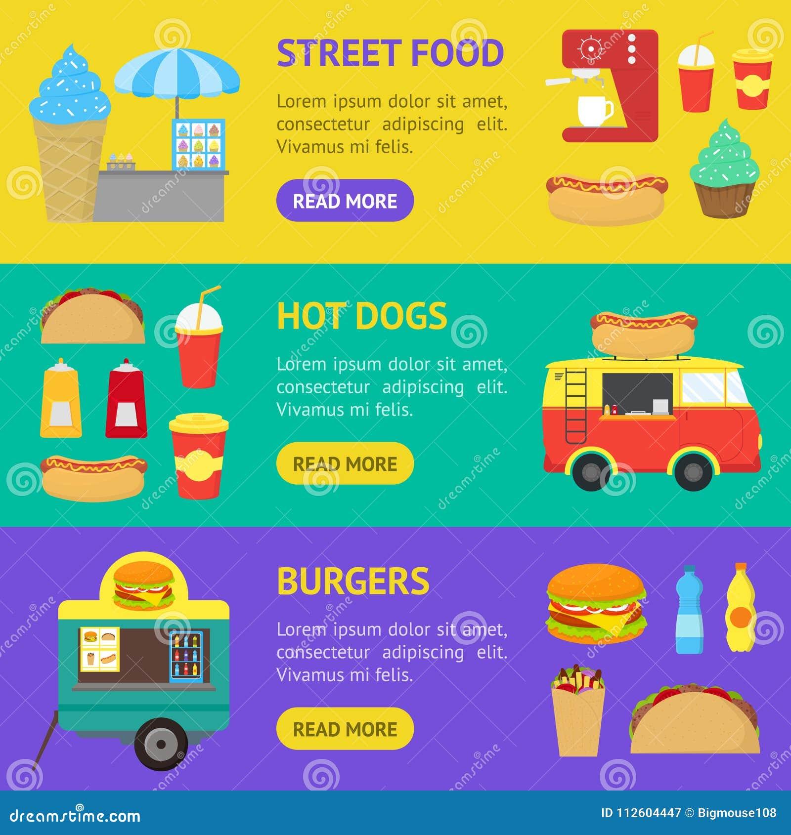 Cartoon Street Food Truck Stall Kiosk Banner Horizontal Set  Vector