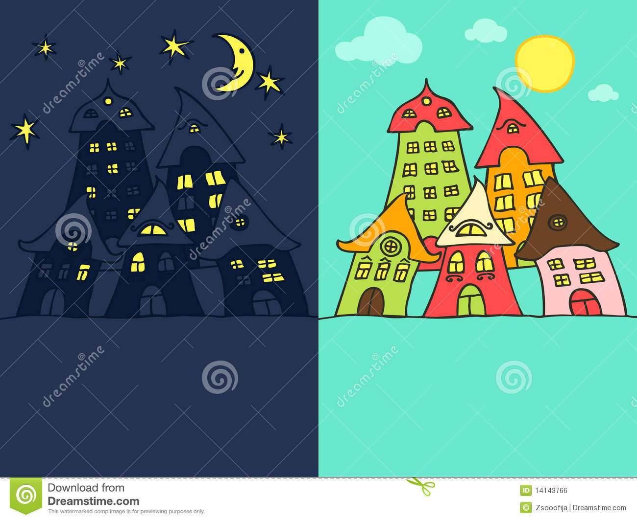 Cute cartoon street night and day version with space for your text