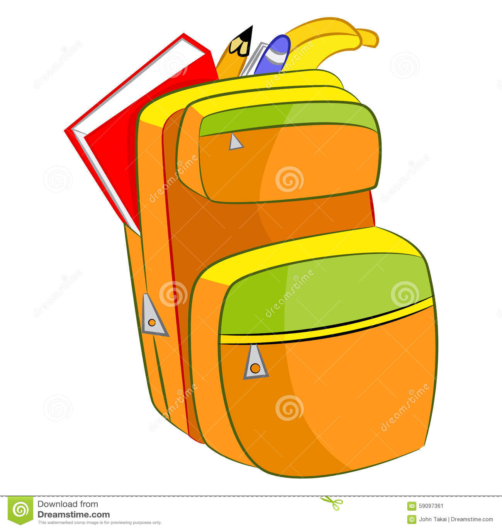 Cartoon Student Book Bag Stock Vector - Image: 59097361