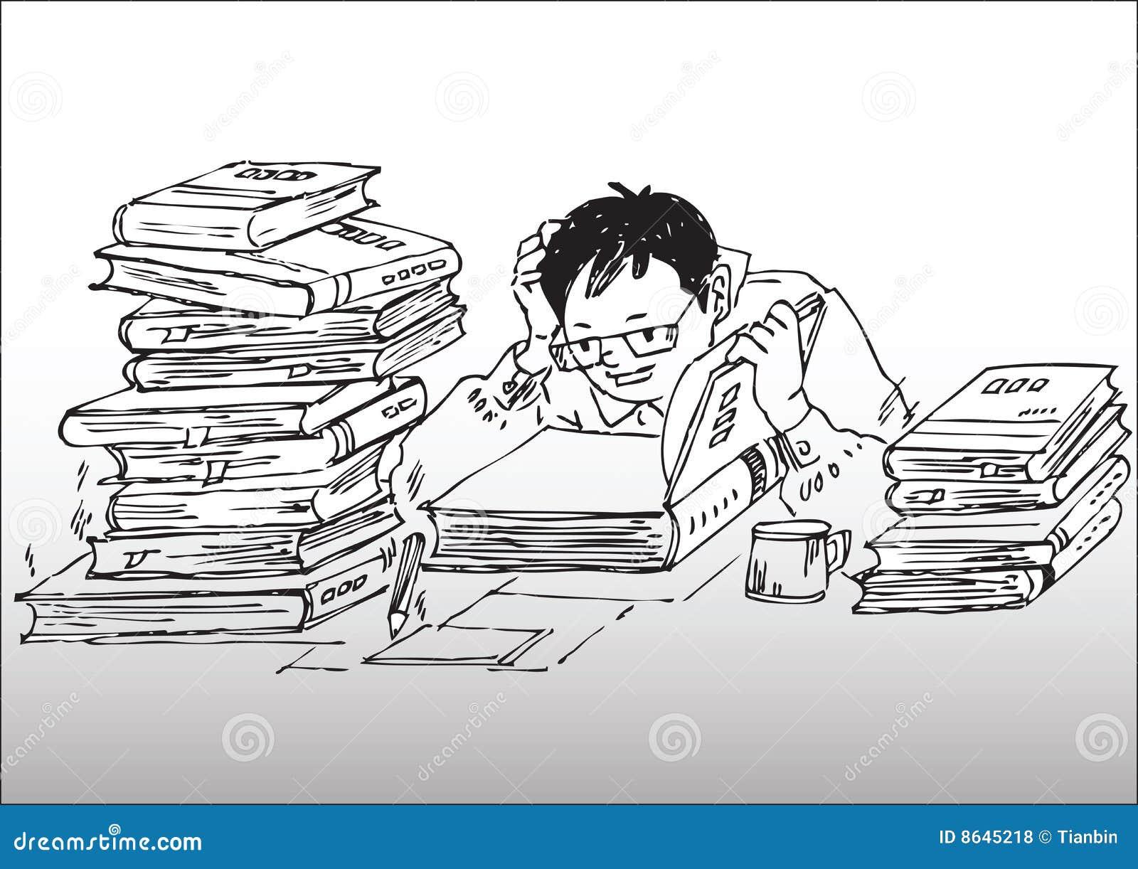 Cartoon Studying Working Hard Royalty Free Stock Photos
