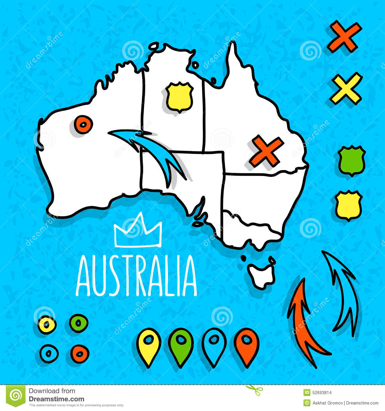 Australia Travel Map Poster Vector Image 69310516 – Travel Maps Australia
