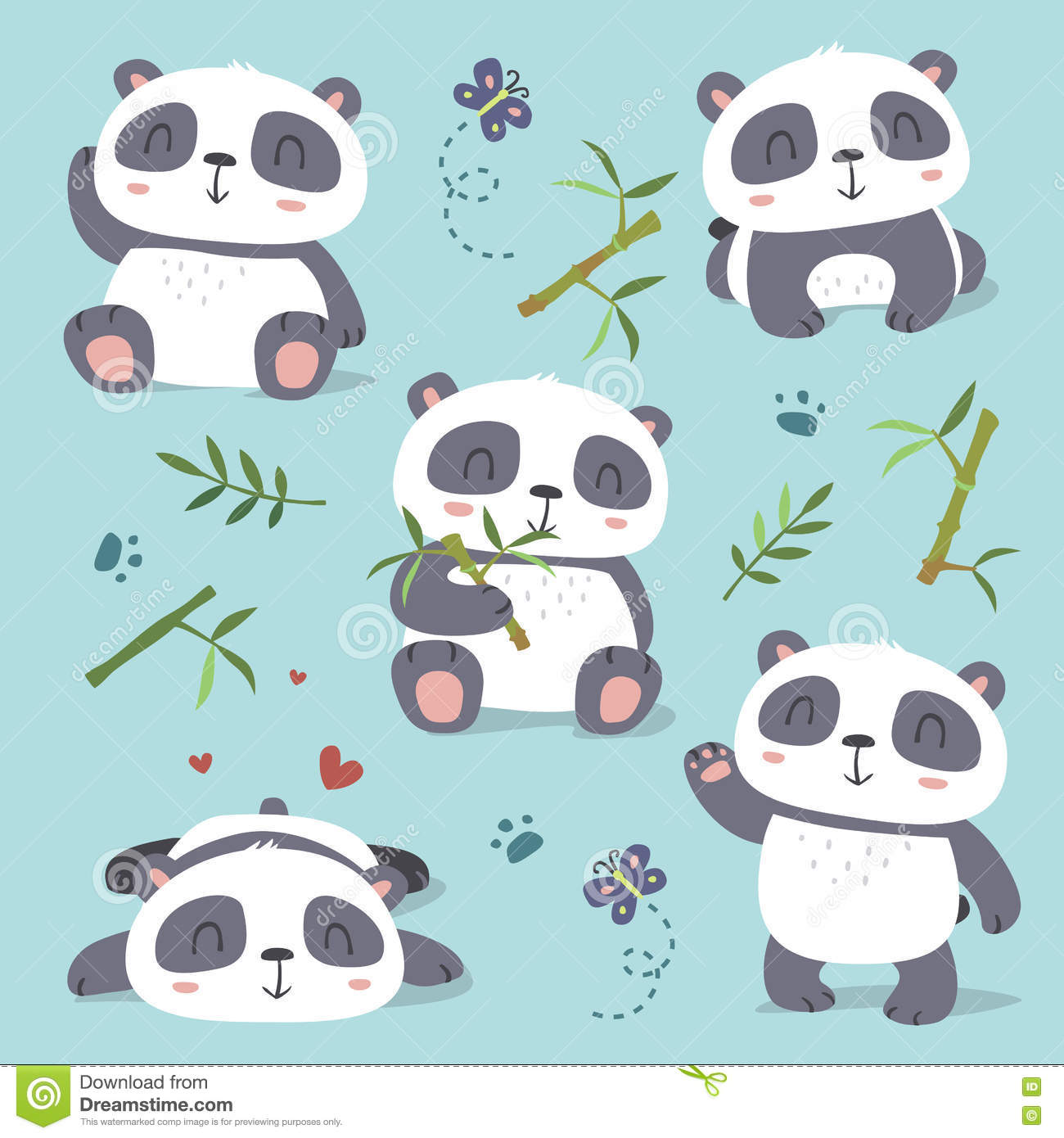 Cartoon style cute panda set