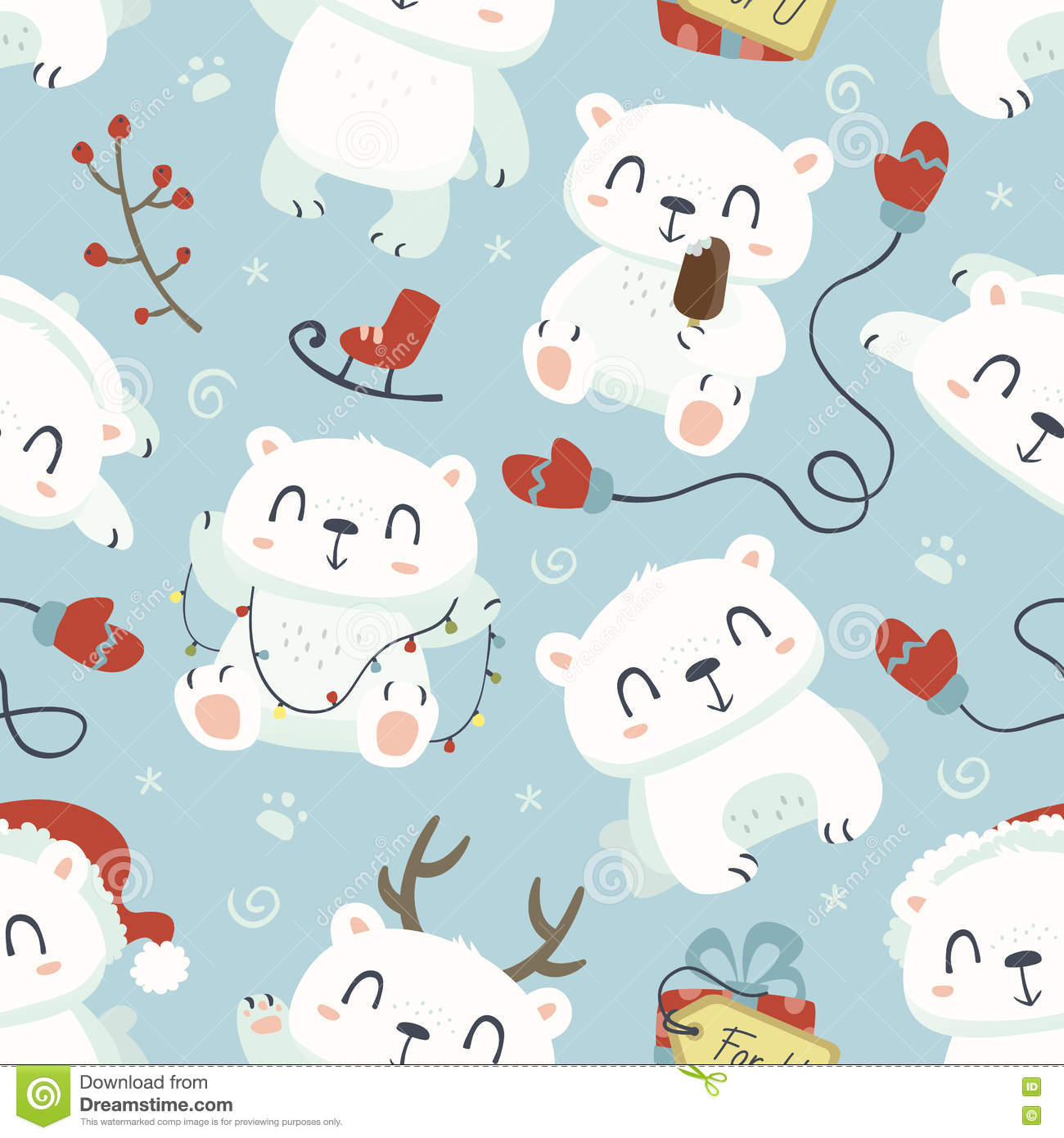 Cartoon style cute polar bear seamless pattern