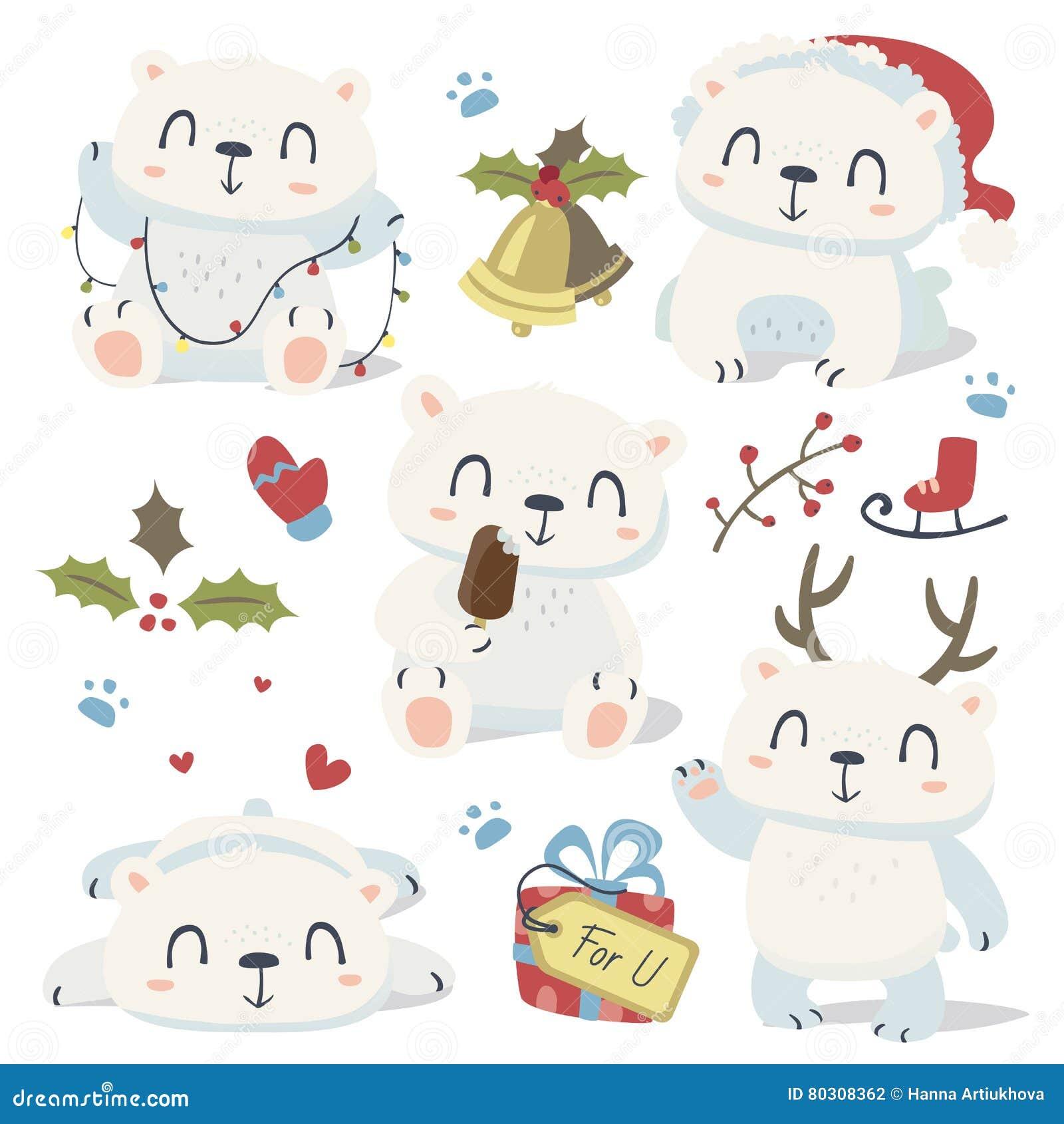Cartoon style cute polar bear set