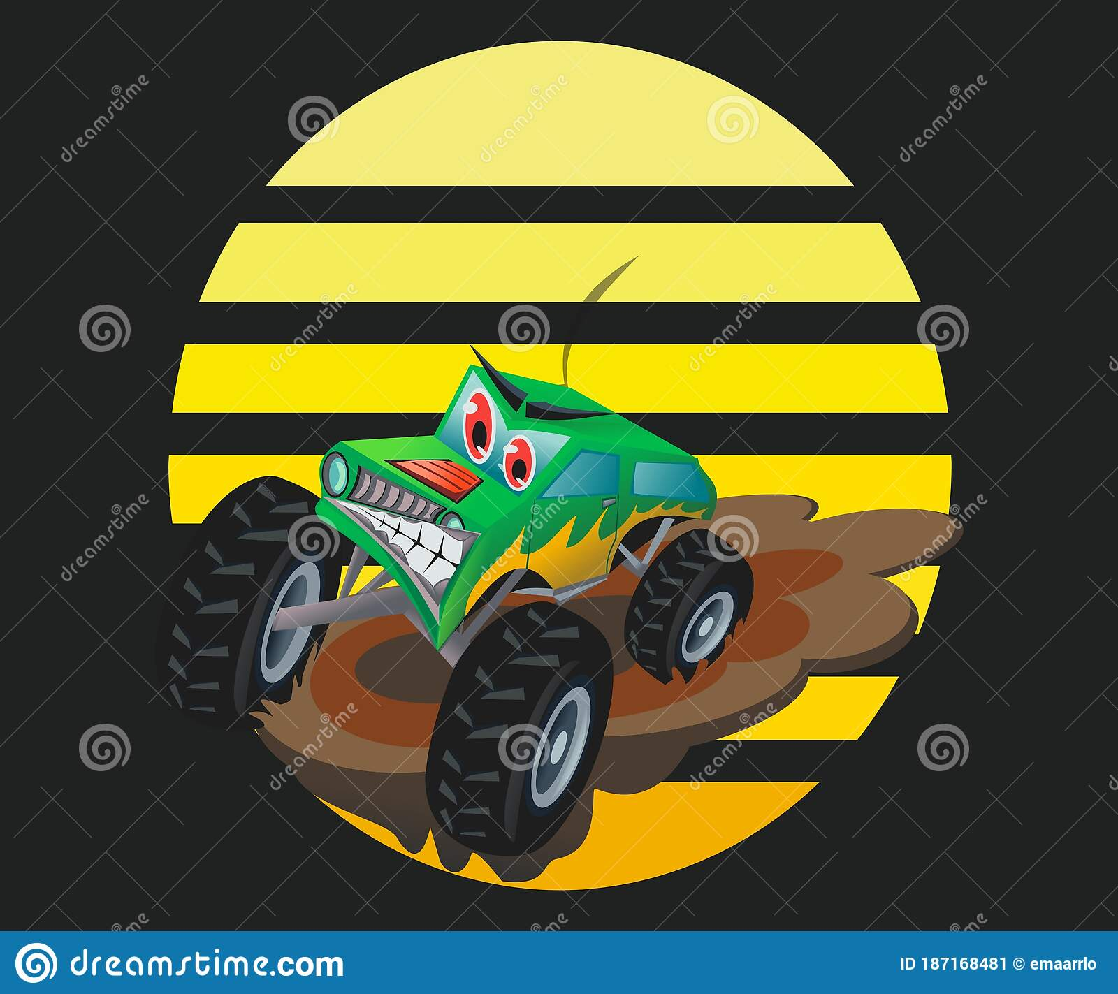 Cartoon Style Drawing Of A Monster Truck Black Background Version Stock Illustration Illustration Of Running Monster 187168481