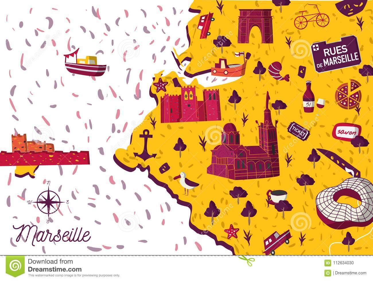 Cartoon Style France Marseille Sightseeing Map Stock Vector