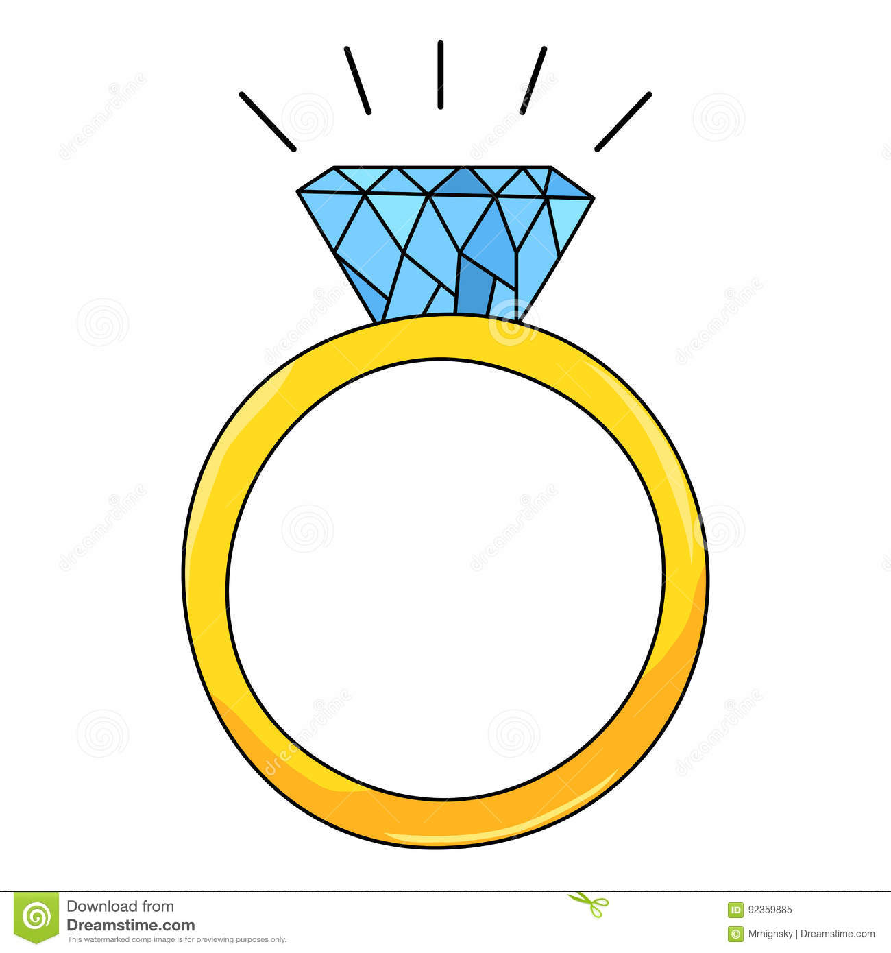 Cartoon Style Gold Ring With Diamond Stock Vector