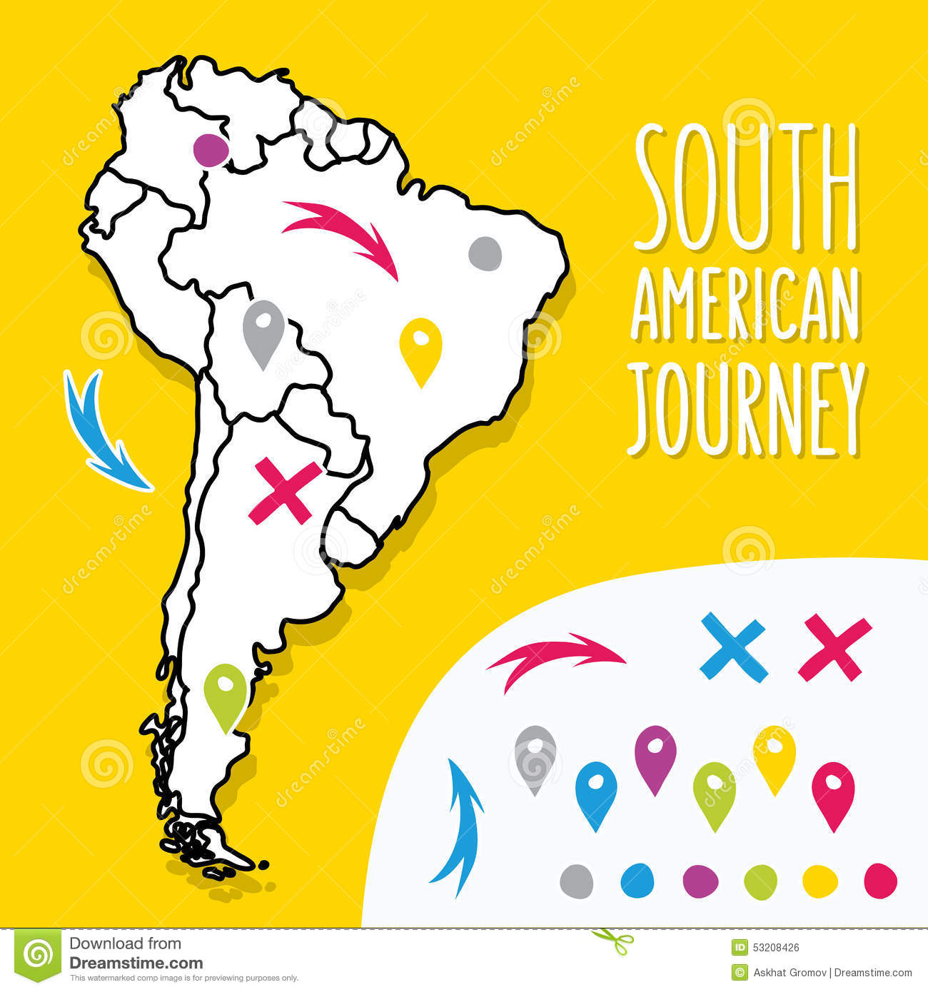 Cartoon Style Hand Drawn Travel Map Of South Vector Image – South America Travel Map