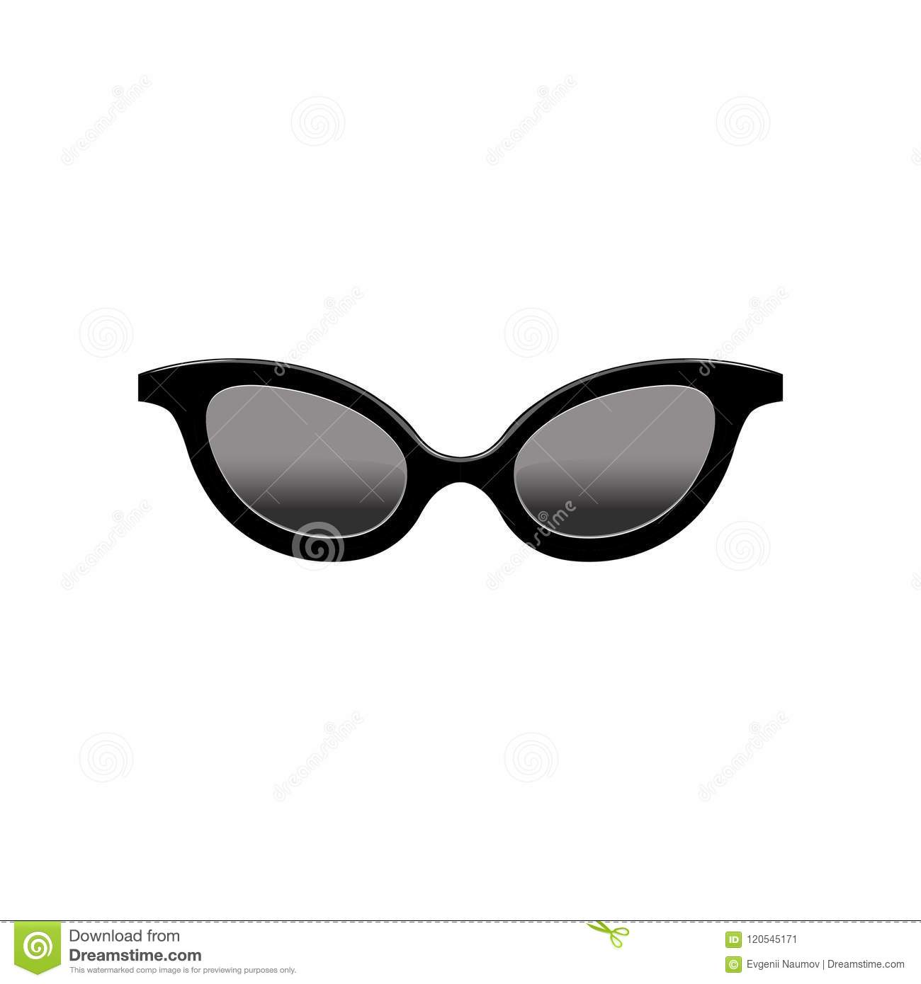 cbf1a38b73 Cartoon style icon of retro women`s cat eye sunglasses with black lenses  and plastic frame. Fashion accessory. Element for mobile application.