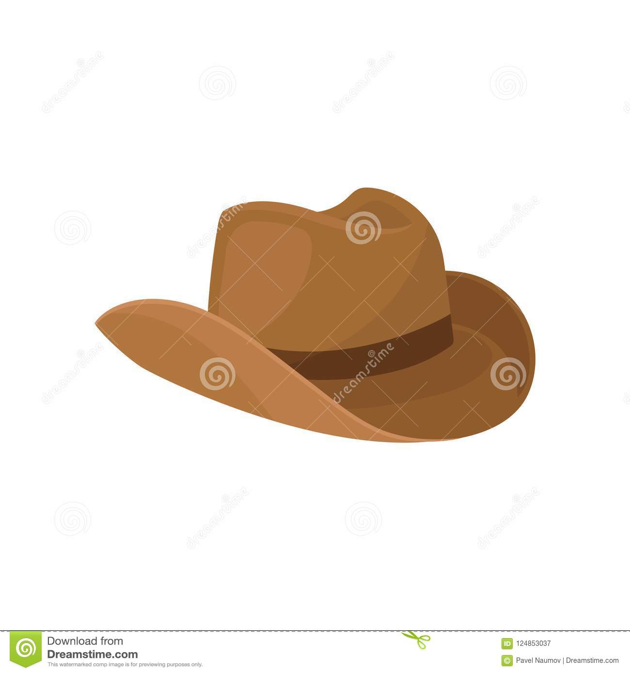 bc1b4400dc8 Cartoon style illustration of brown wide-brimmed cowboy hat. Stylish men  headwear. Male accessory. Element of costume. Fashion theme. Colorful flat  vector ...