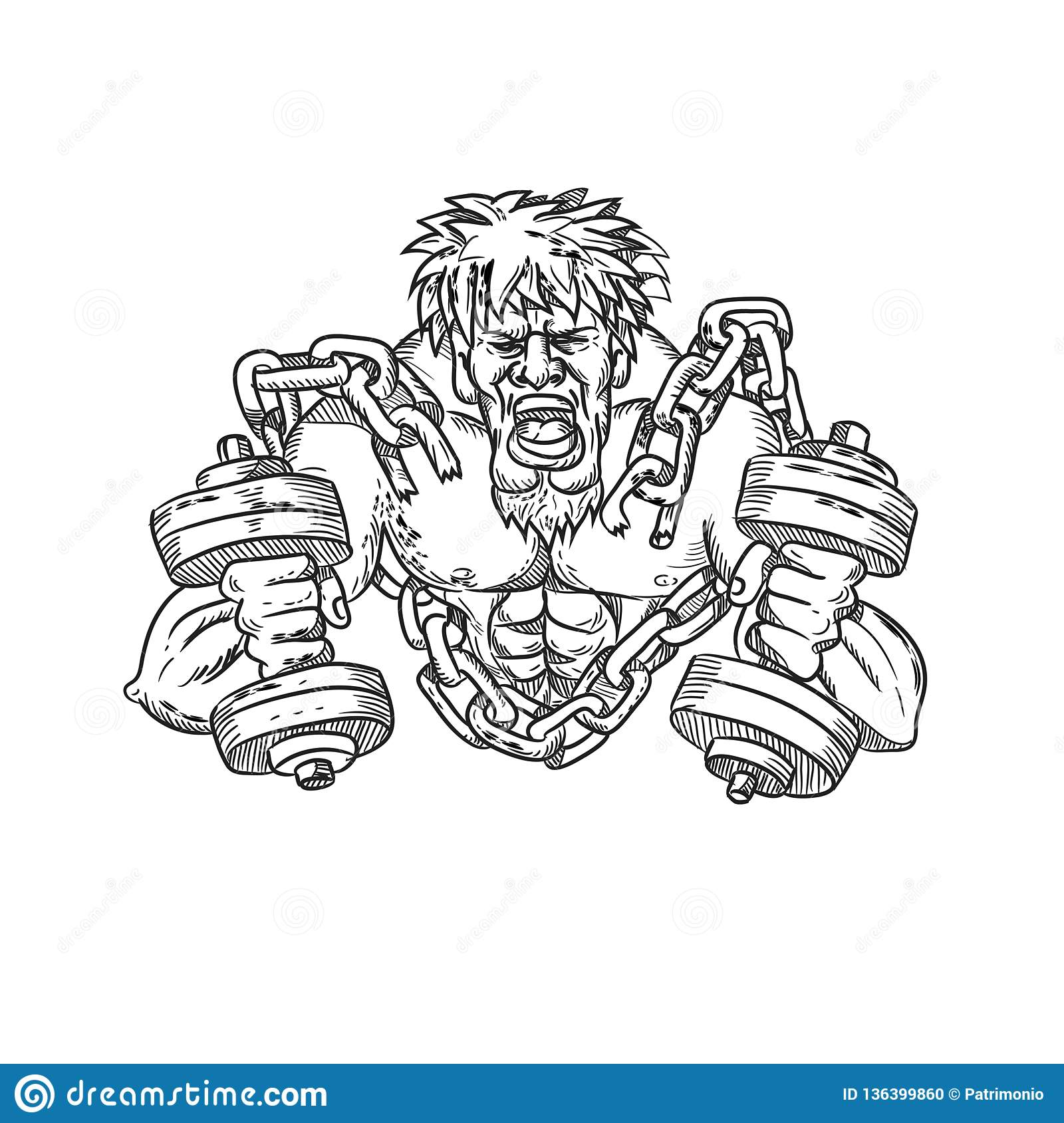 Buffed Athlete Dumbbells Breaking Free From Chains Drawing Stock