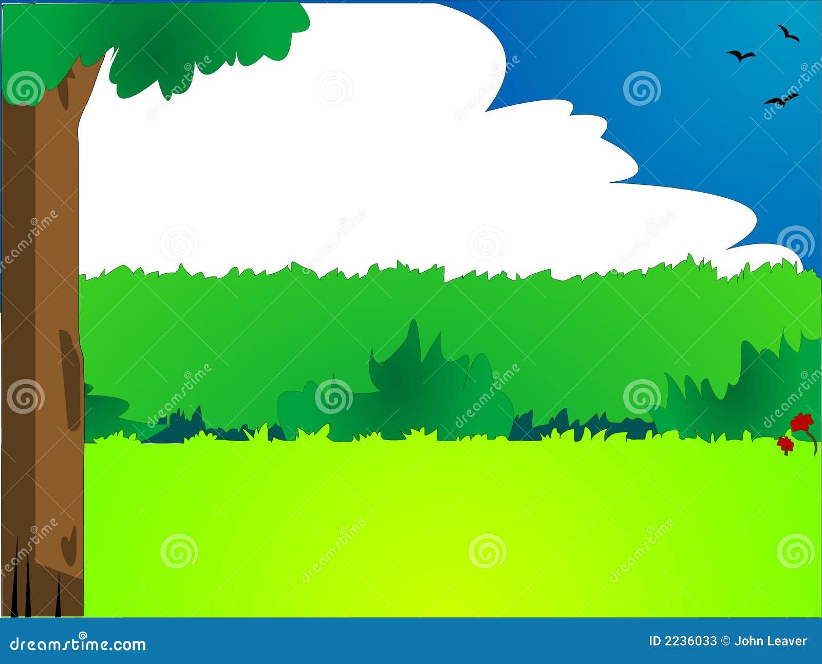 Cartoon Style Landscape Stock Illustration Illustration