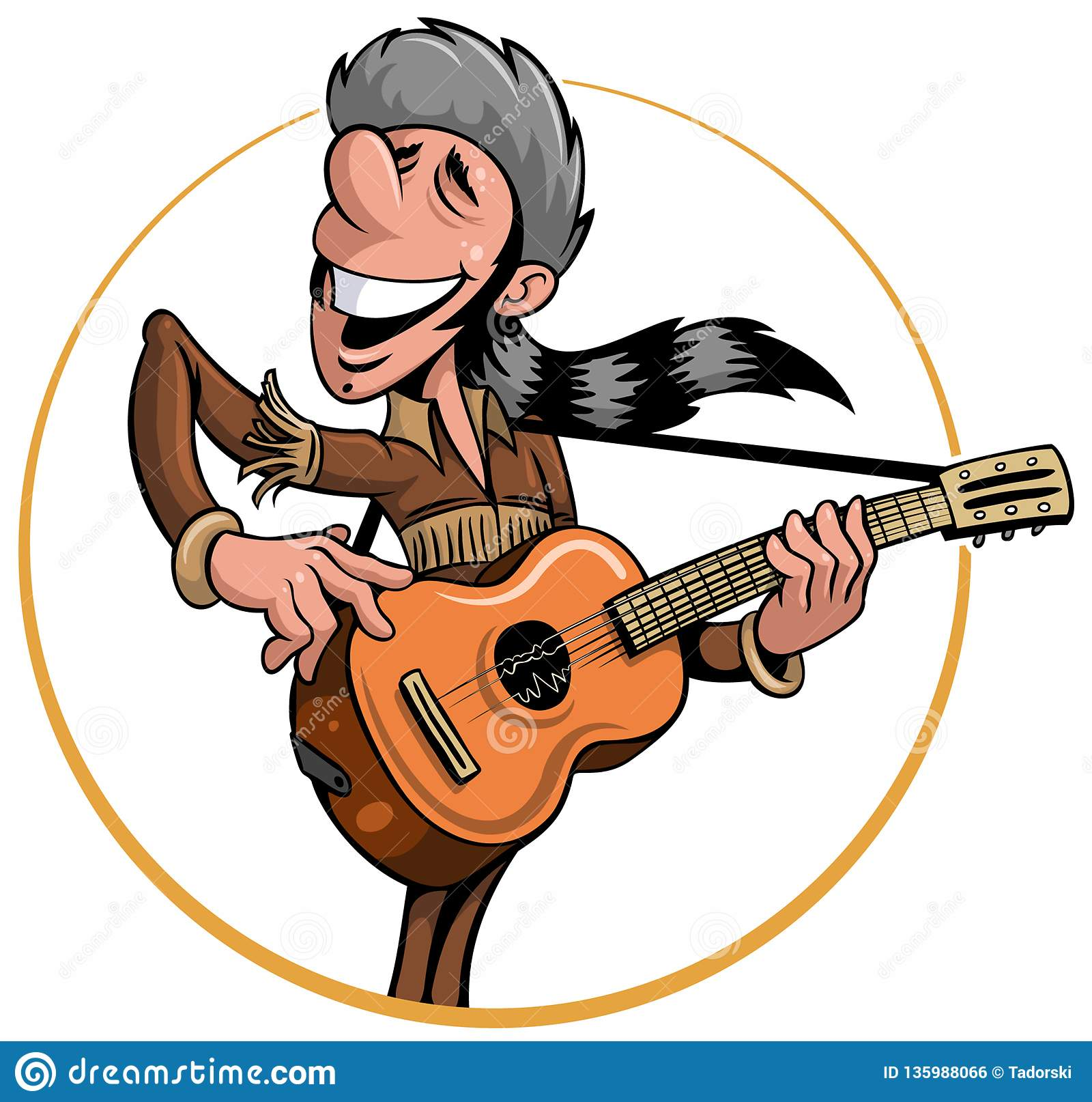a843eb851e1 Cartoon Style Man In The Buckskin Clothes With A Coonskin Cap ...